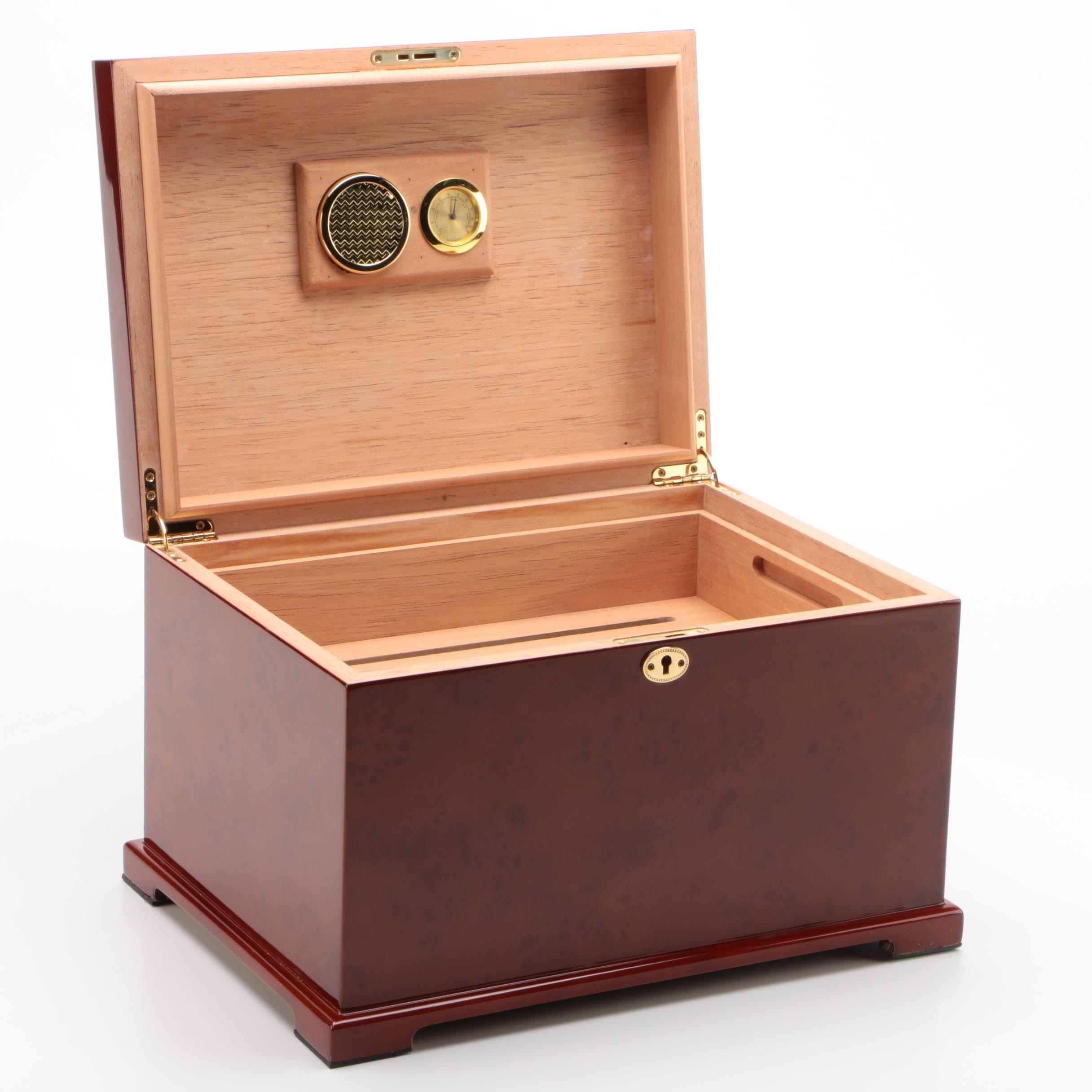Chippendale Style Glossy Burl Wood Cedar-Lined Humidor
