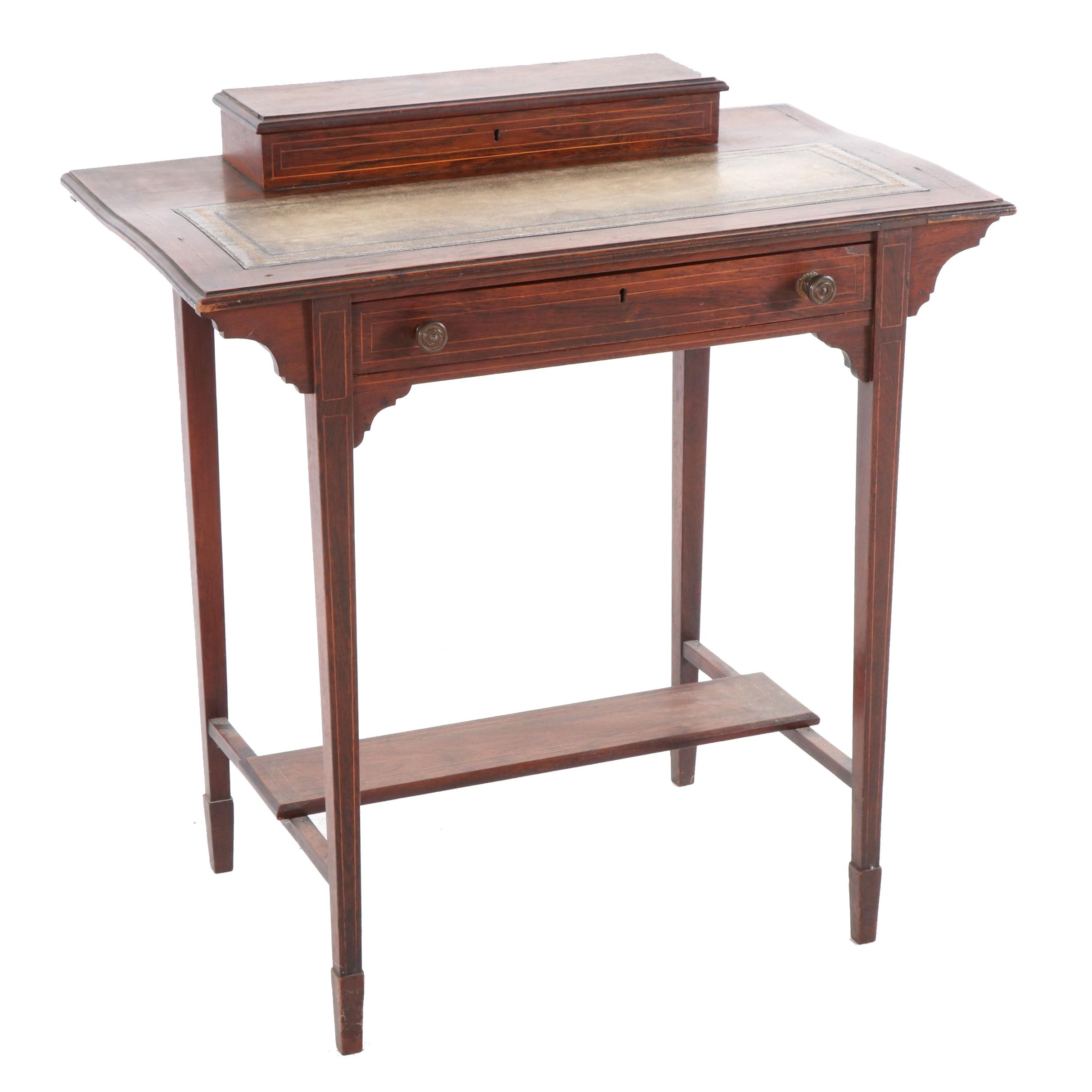 Victorian Rosewood String-Inlaid Writing Table, Mid to Late 19th Century
