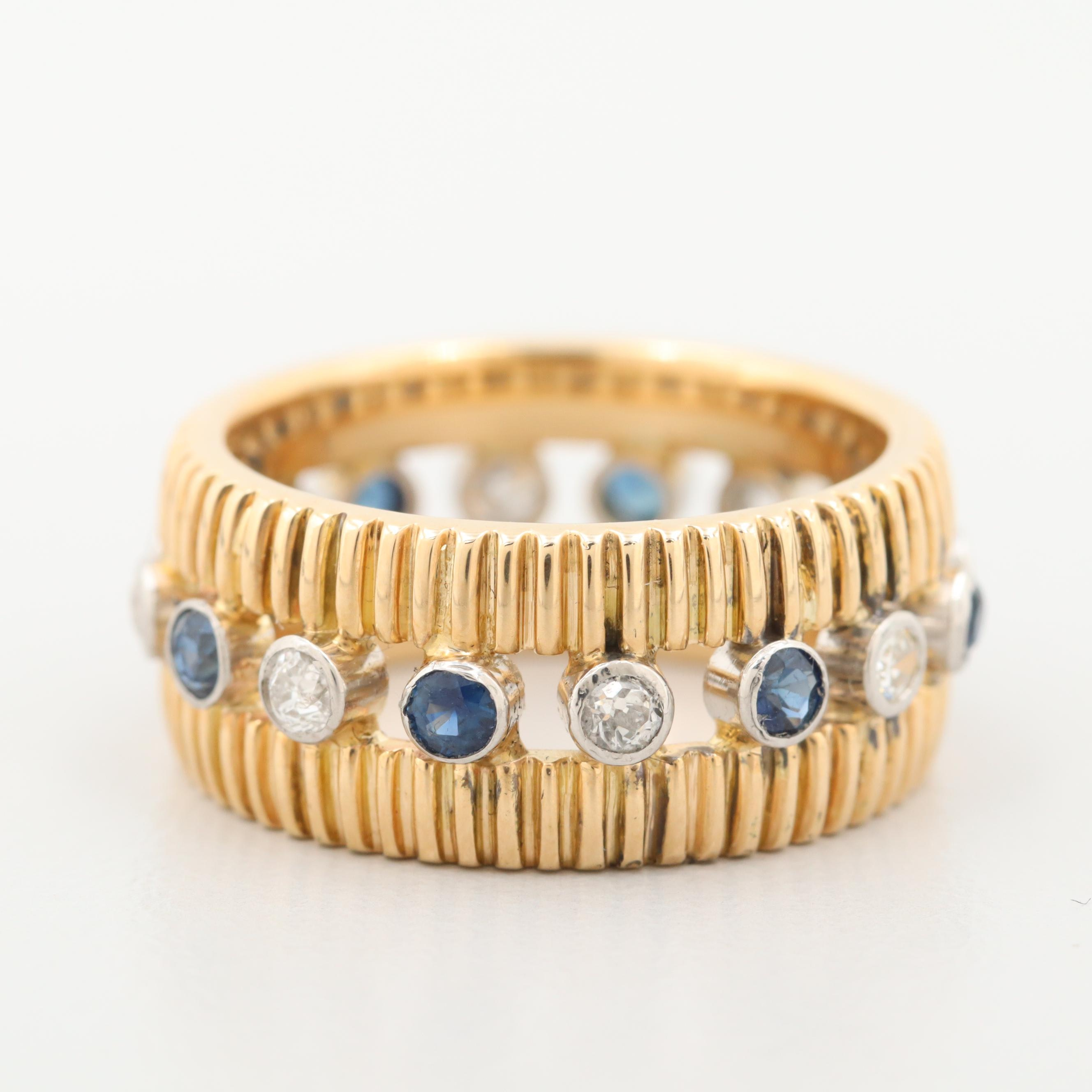 14K Yellow Gold Diamond and Blue Sapphire Eternity Band with White Gold Accents