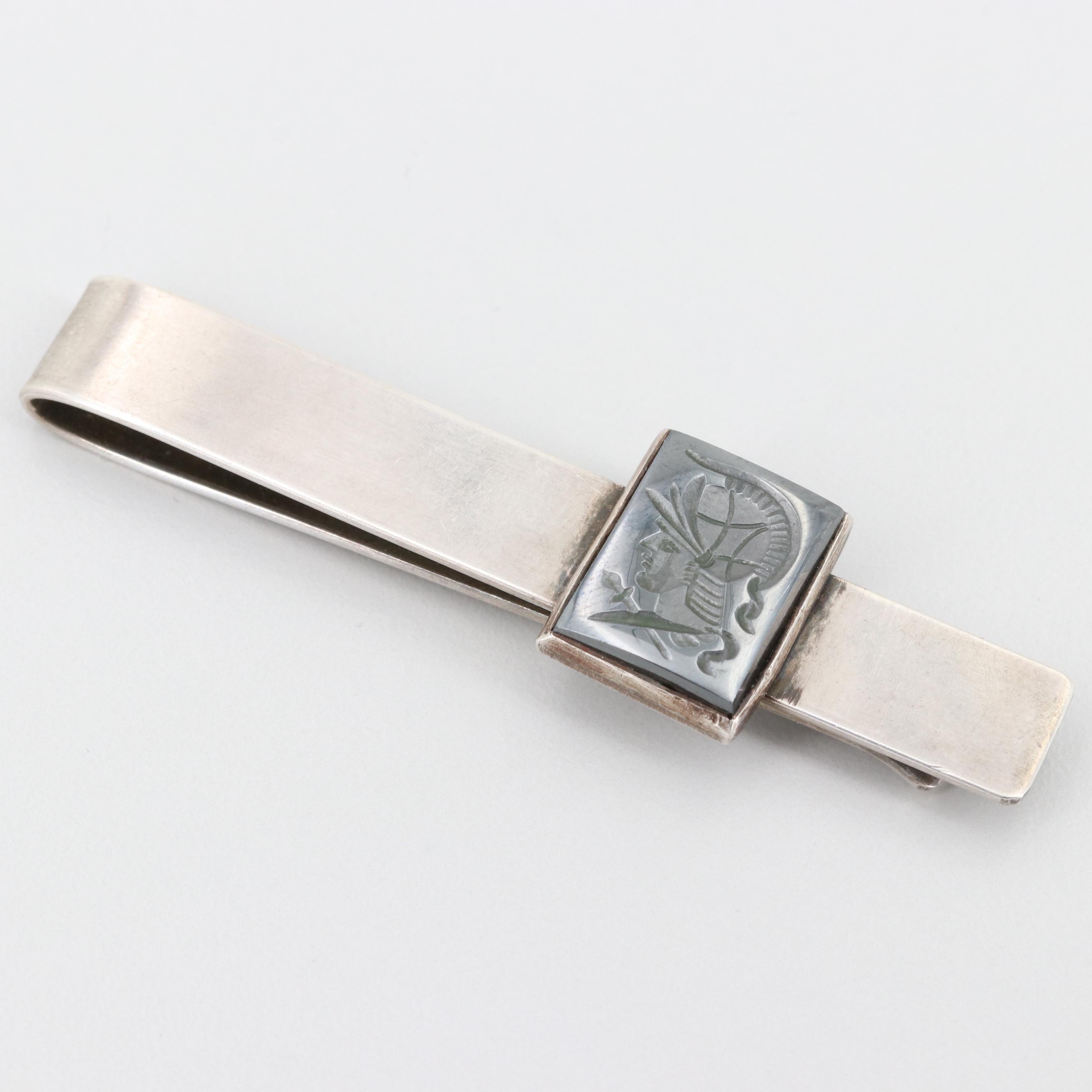 Sterling Silver Hematite Intaglio Carved Cameo Tie Bar