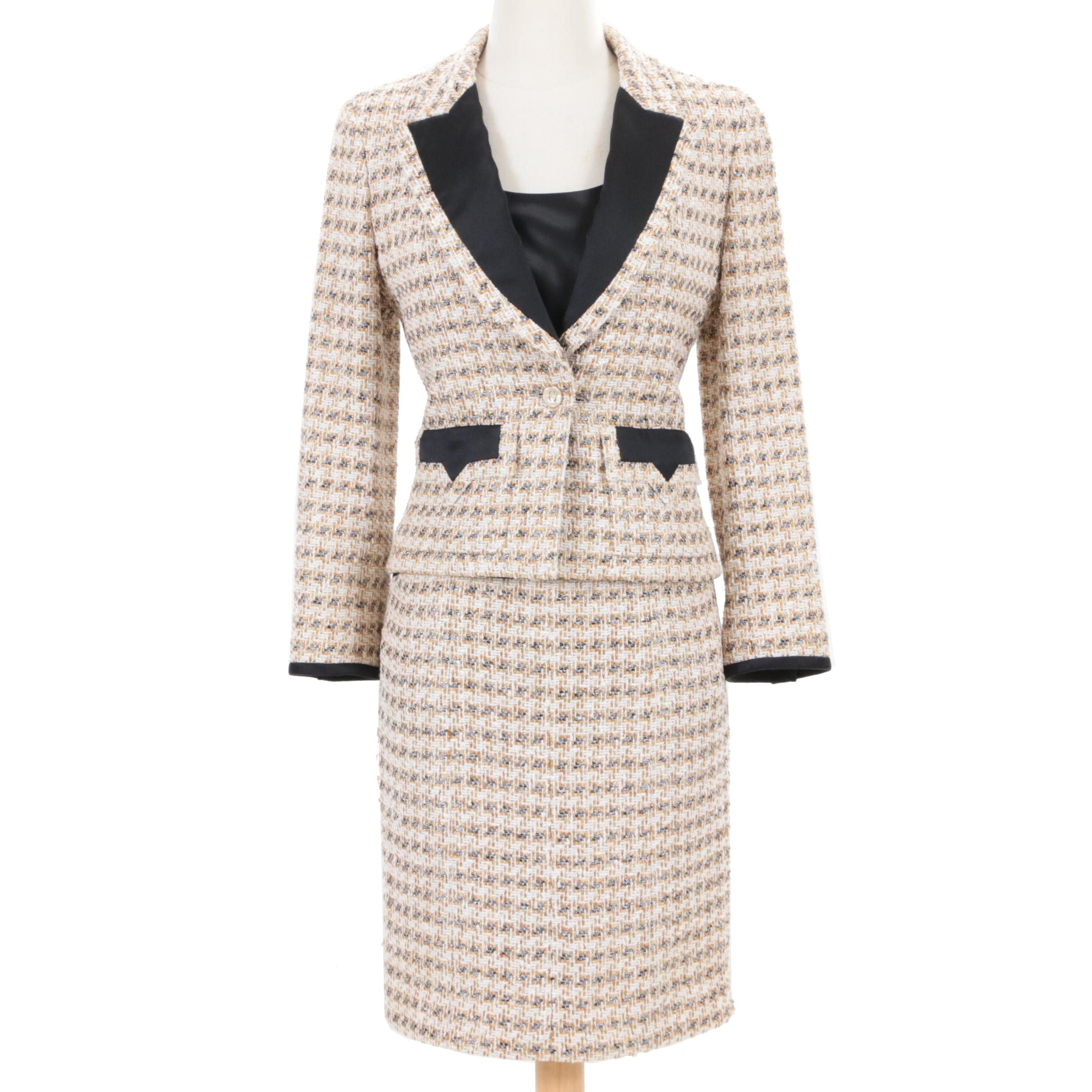 Chanel 2006 Printemps Collection Tweed Skirt Suit with Lafayette 148 Silk Tank
