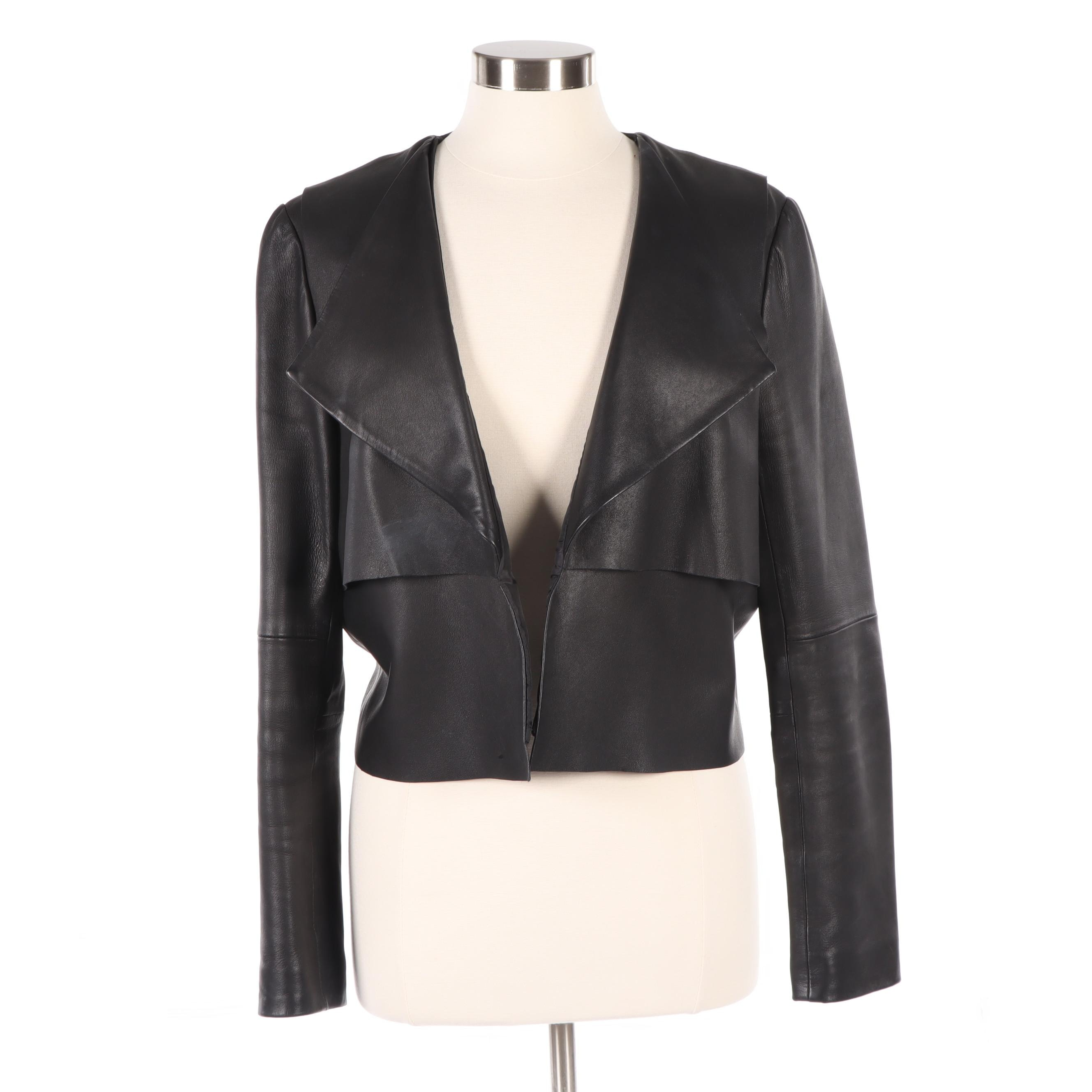 Kate Spade Saturday Black Grained Leather Jacket