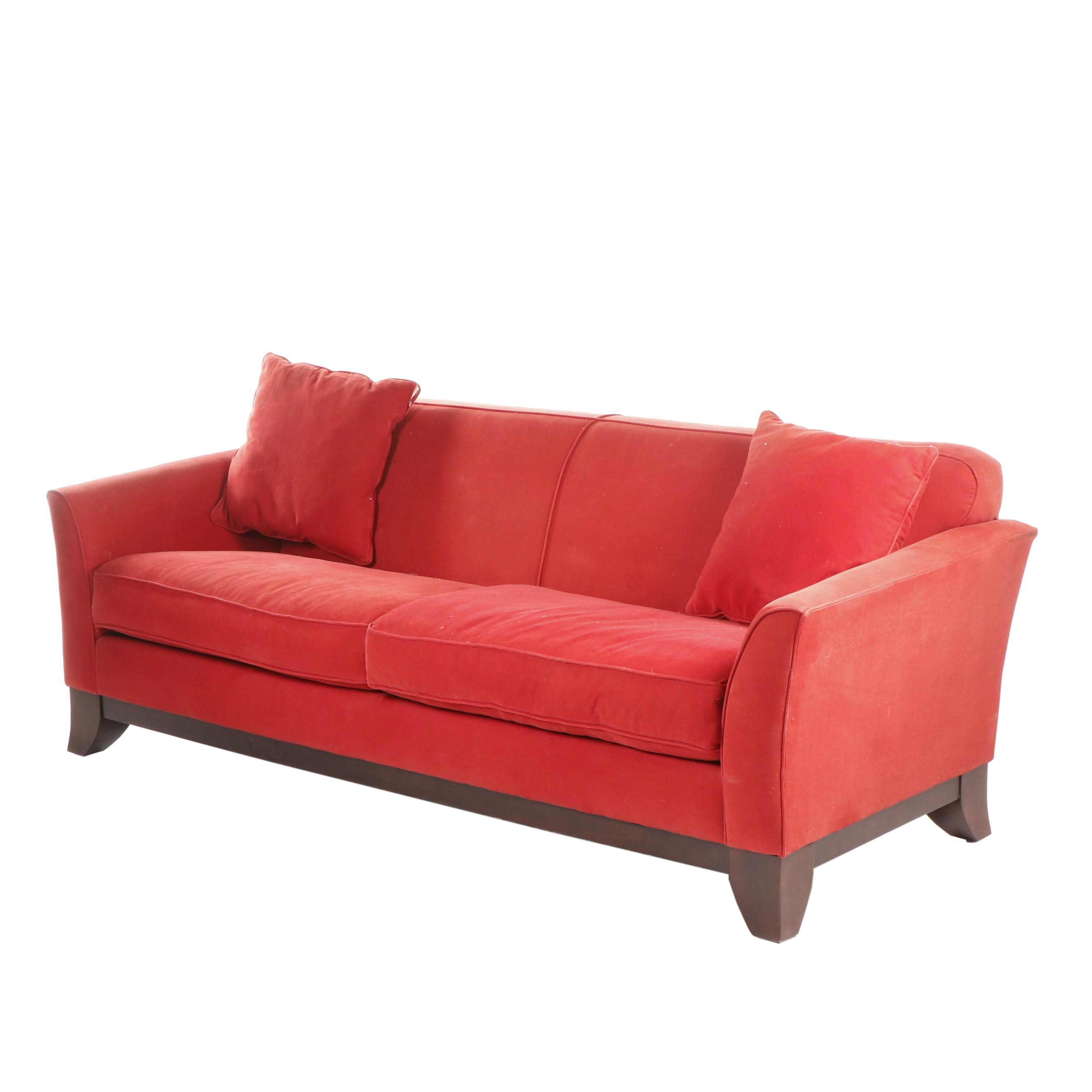 Pottery Barn Contemporary Modern Red Upholstered Sofa