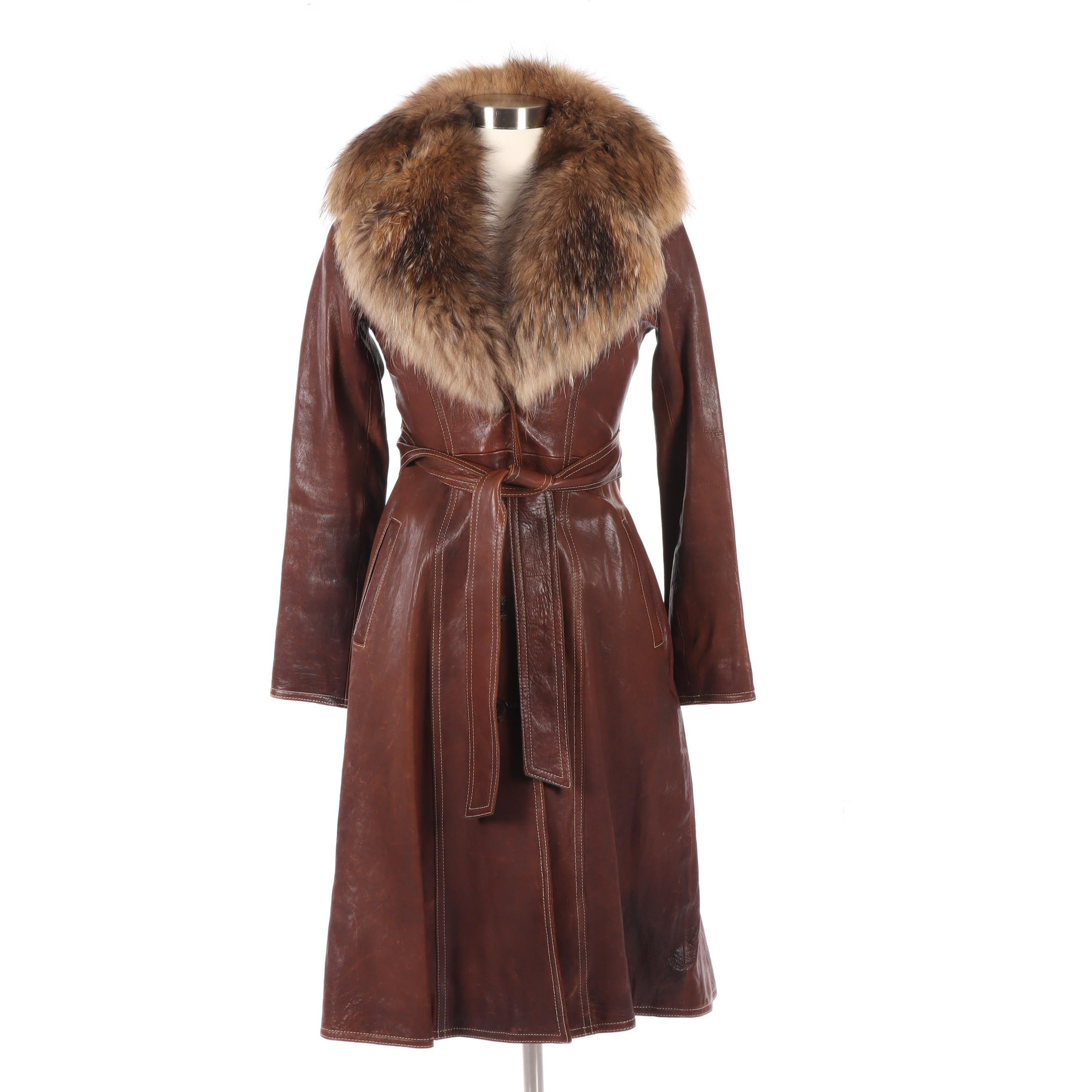 Andrew Marc Brown Leather Trench Coat with Finnish Raccoon Fur Collar