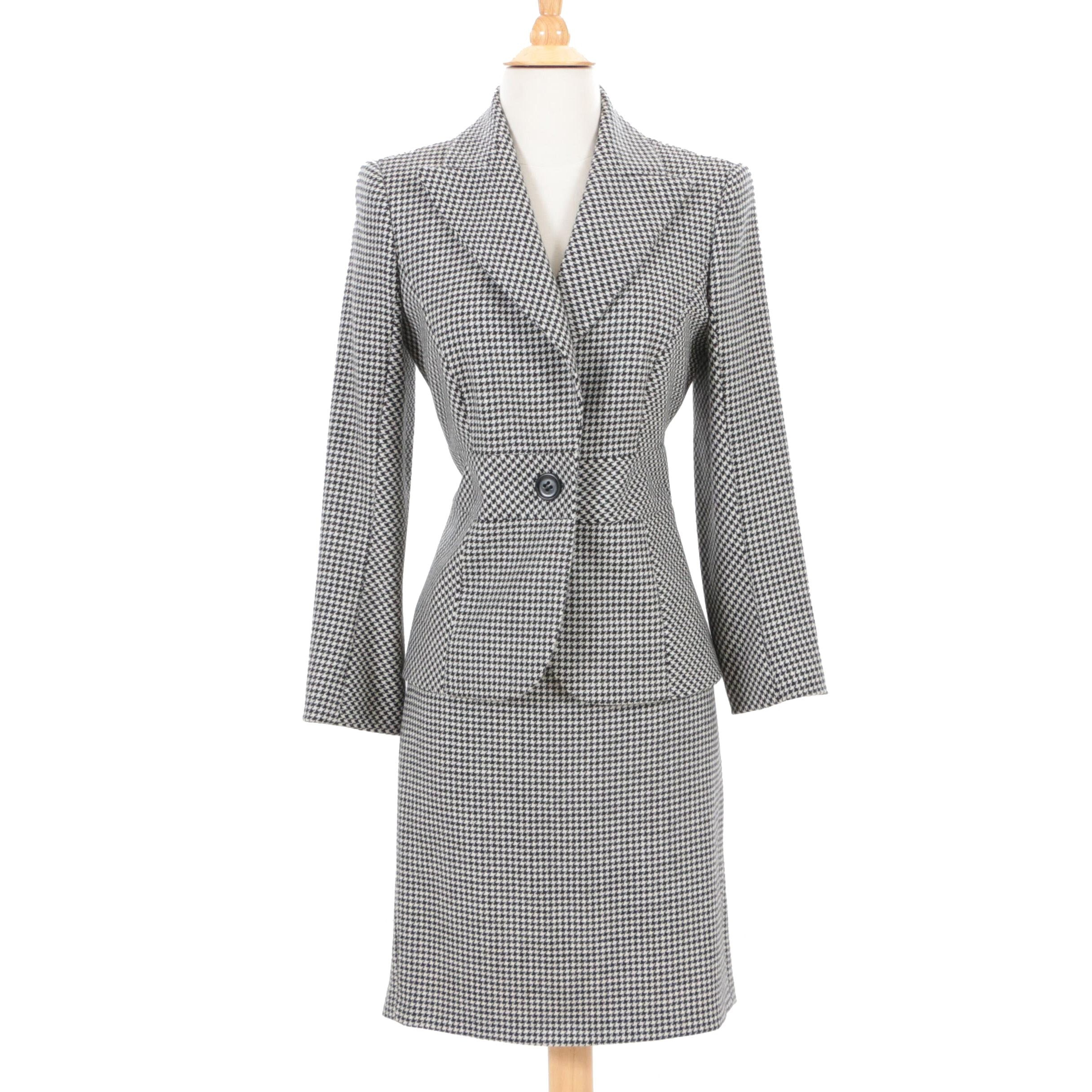 Valentino Houndstooth Wool Skirt Suit