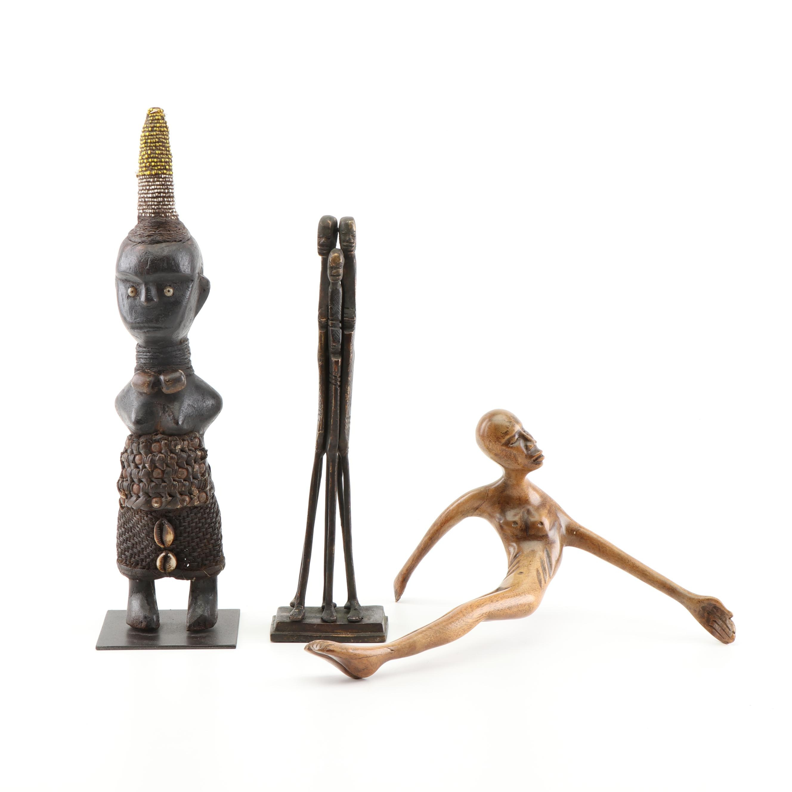 Cast Bronze and Carved Wood African Tribal Sculptures