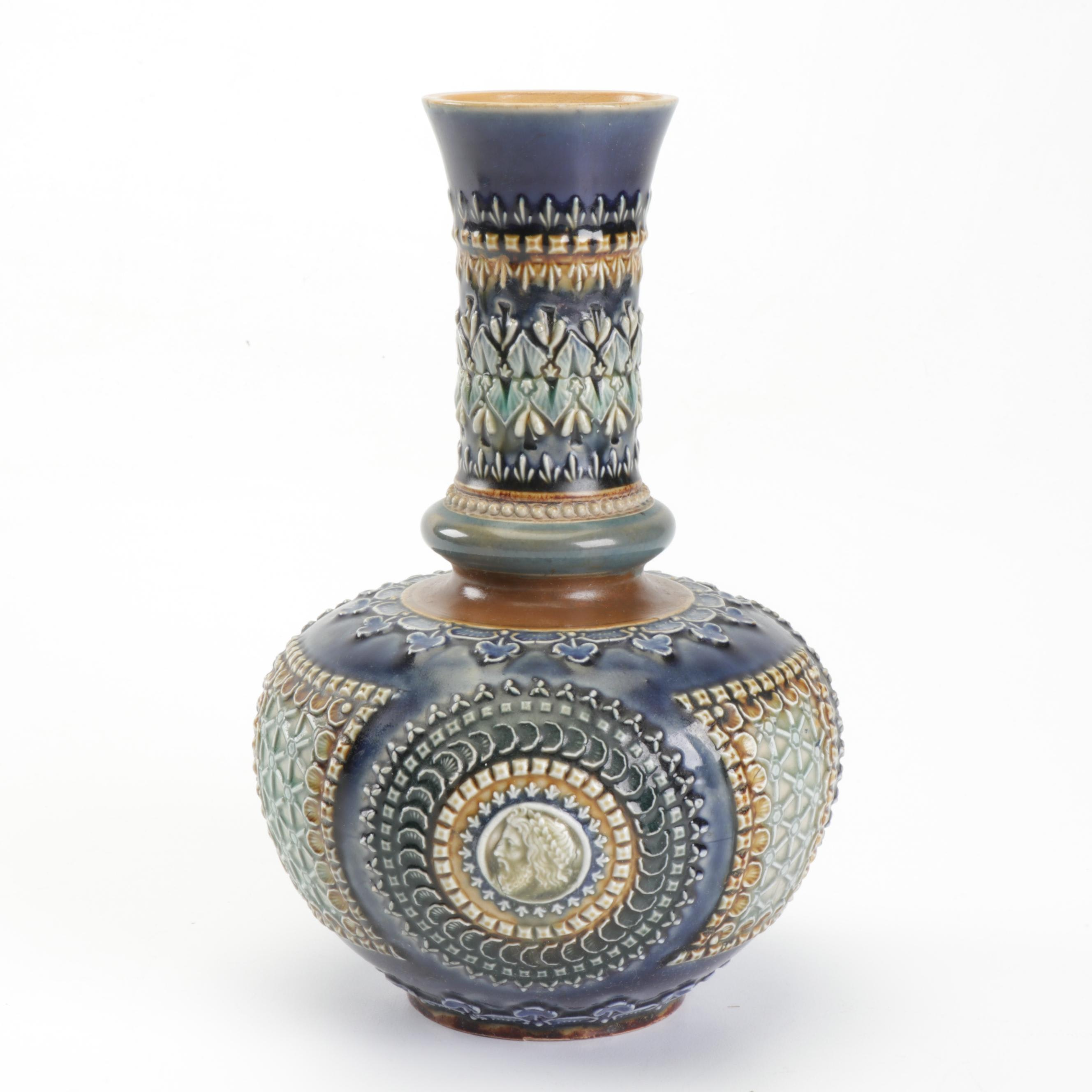 Doulton Lambeth Stoneware Vase, Late 19th Century
