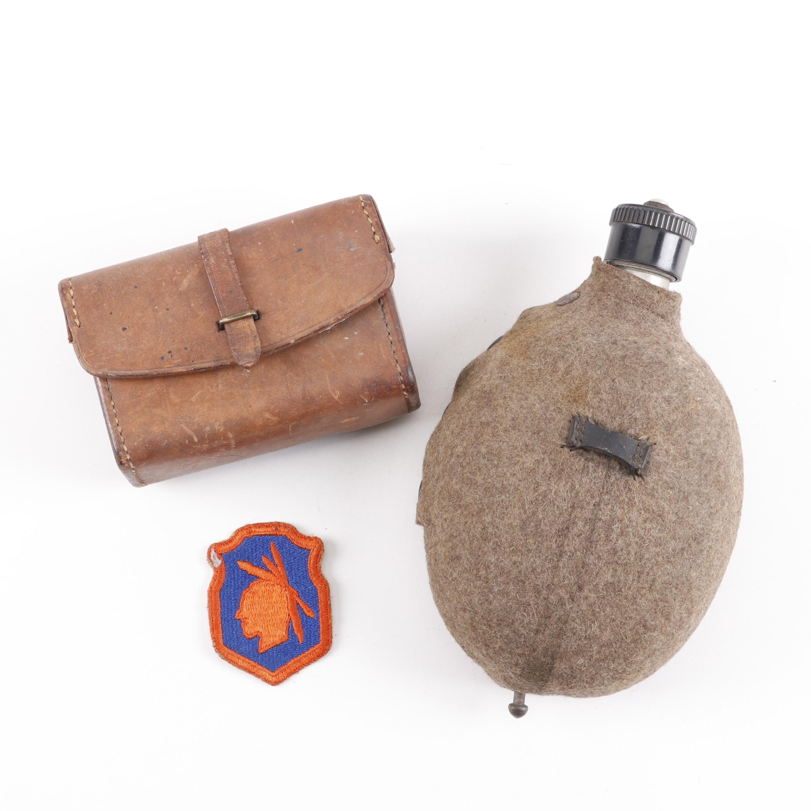 WWII Era Leather Ammo Box and Army Canteen