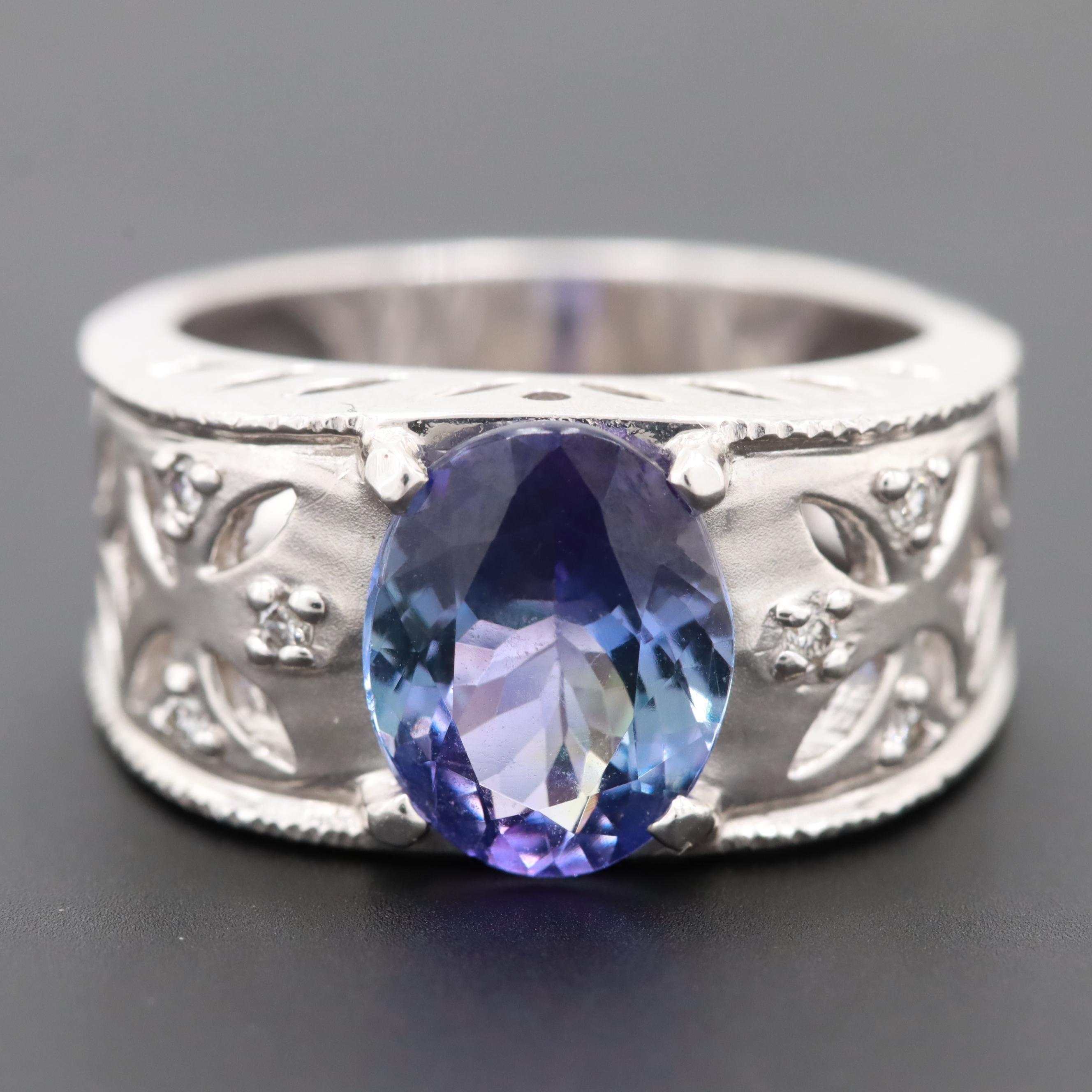 14K White Gold 2.28 CT Tanzanite and Diamond Ring