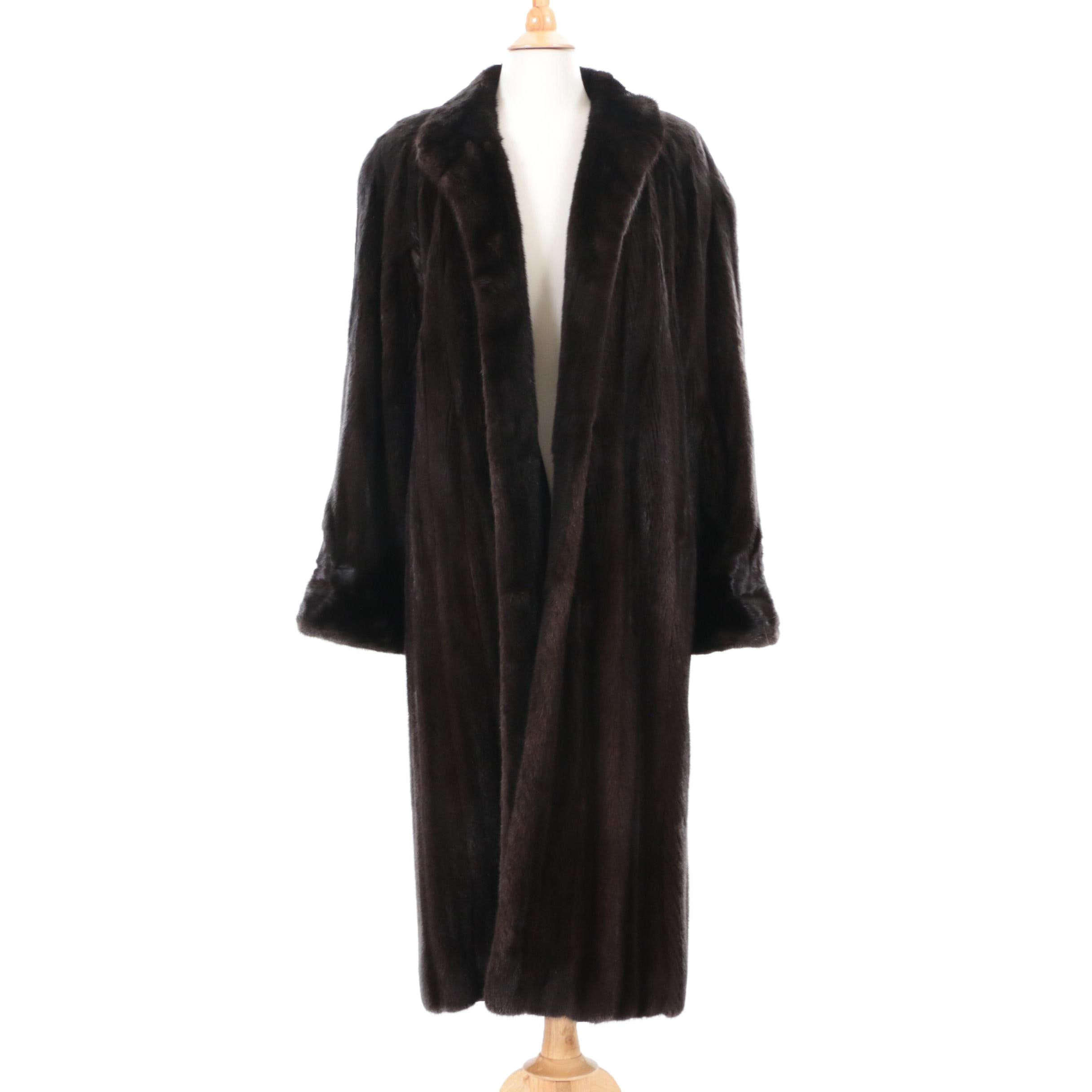 Valentino Furs Dark Brown Ranched Mink Fur Coat