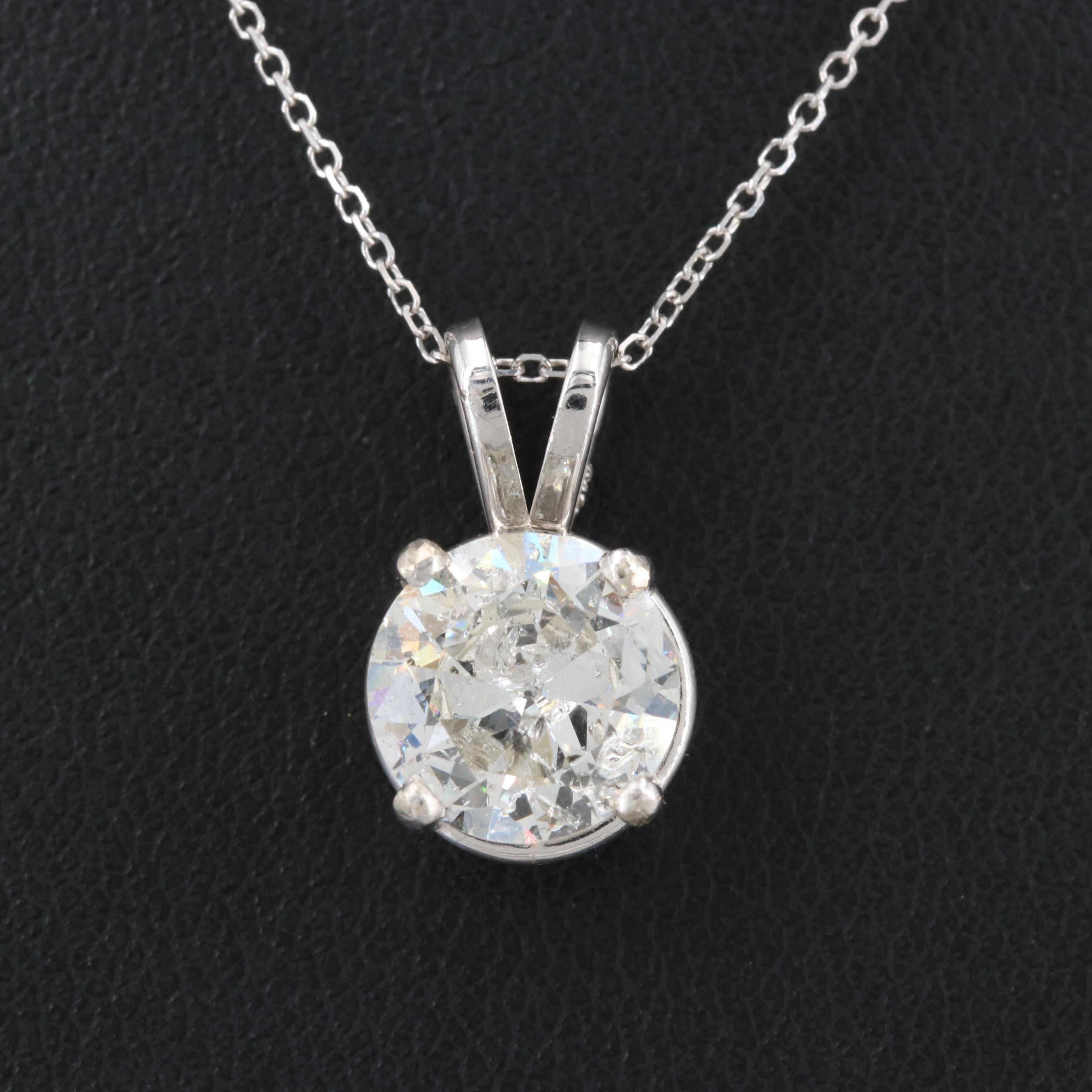 14K White Gold 1.70 CT Diamond Pendant Necklace