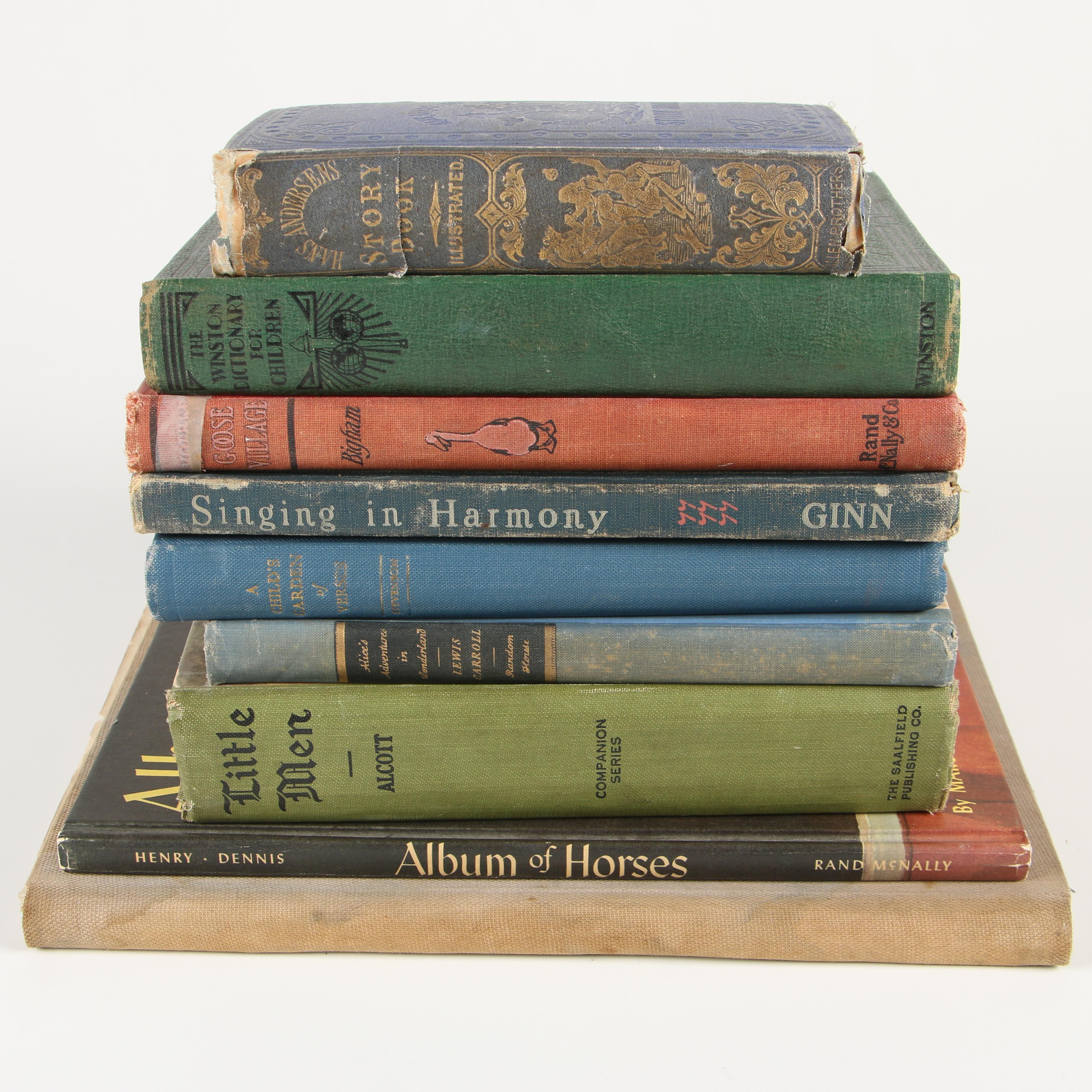 "Children's Books featuring ""Alice's Adventures in Wonderland"" and ""Little Men"""