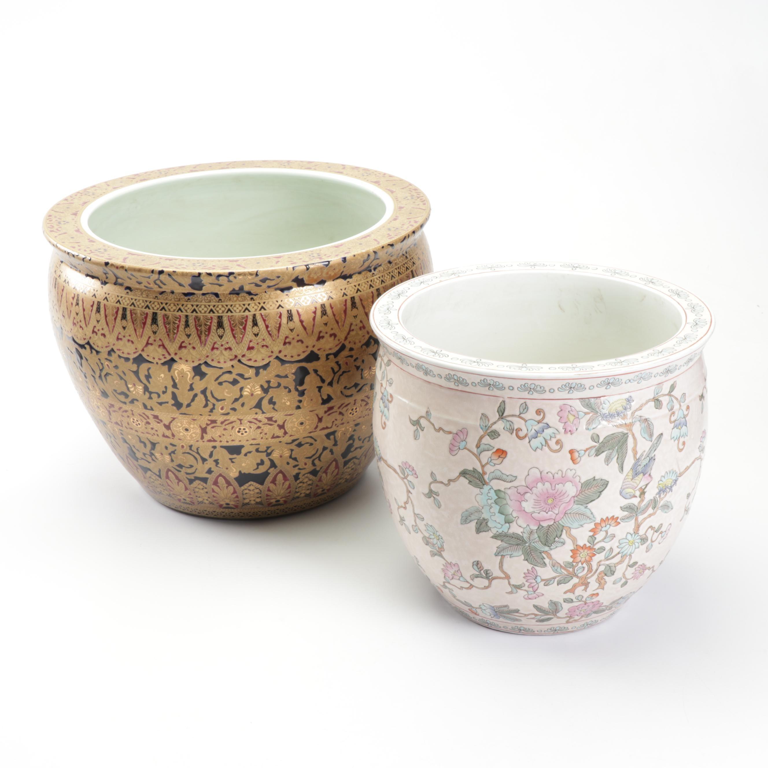 East Asian Porcelain and Enamel Planters