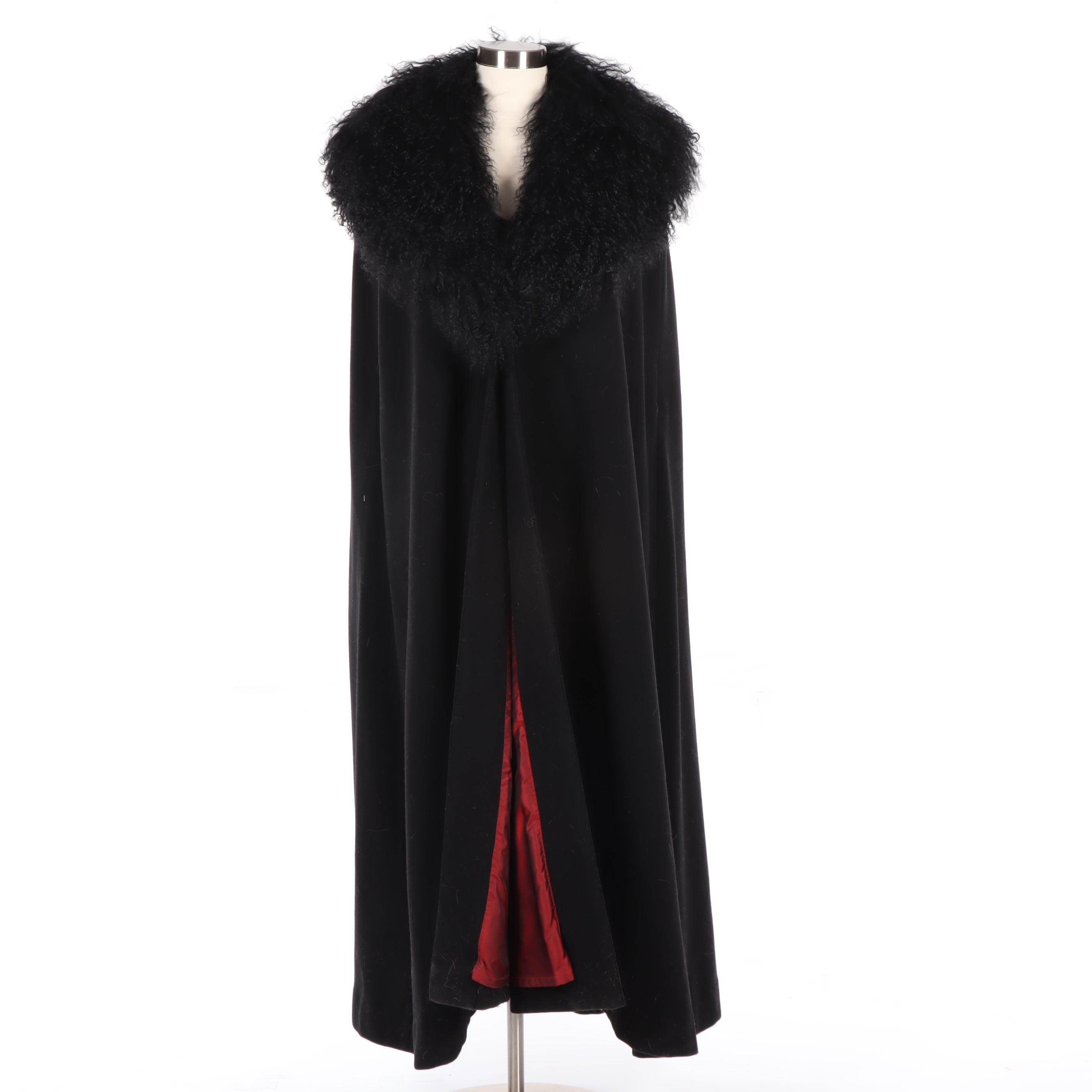 J. Peterman Black Wool and Cashmere Cloak with Mongolian Curly Lamb Fur Trim