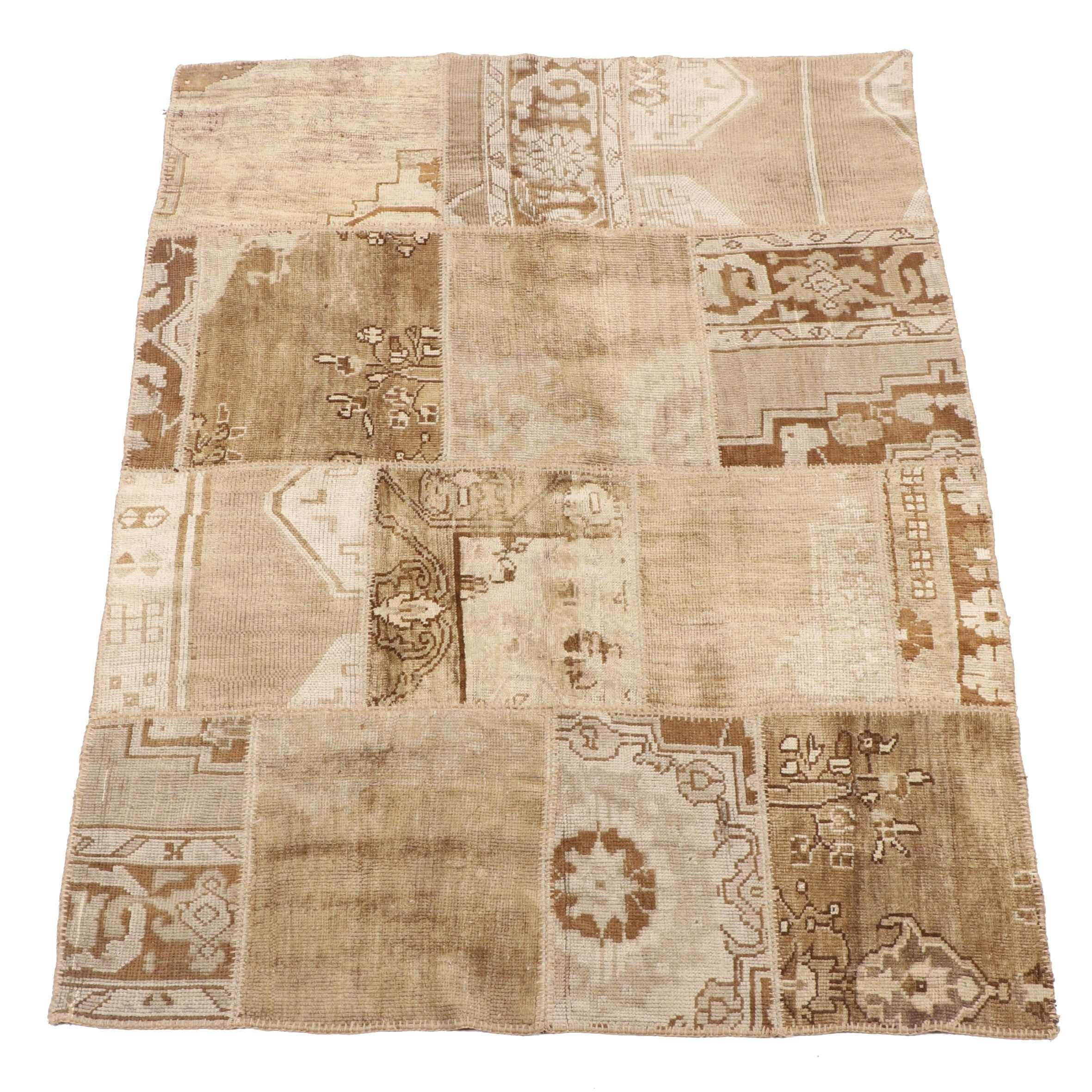 Hand-Knotted Turkish Patchwork Mosaic Pattern Wool Rug from Oscar Isberian