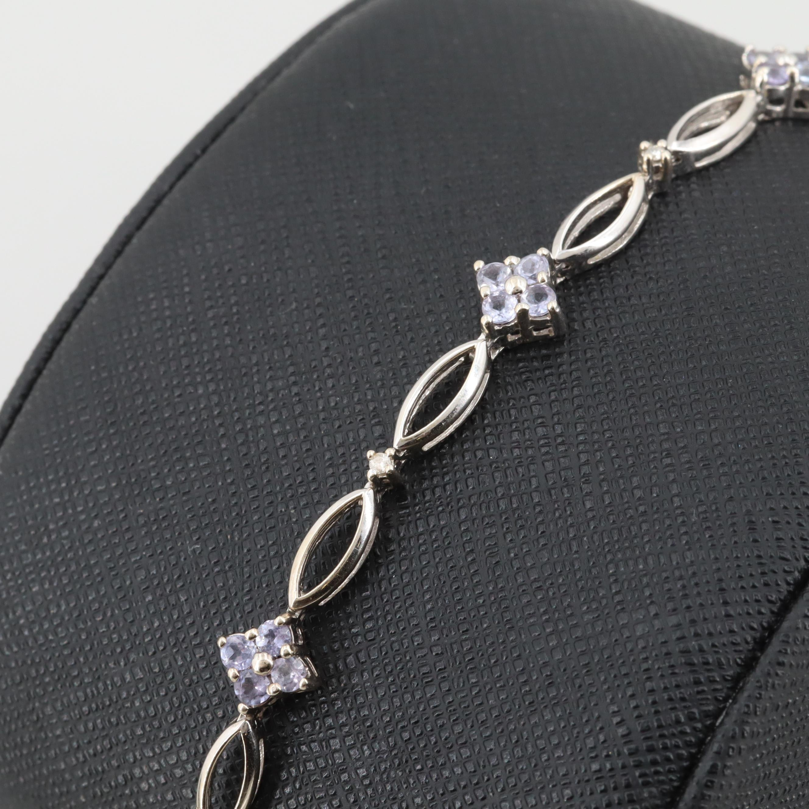 14K White Gold Tanzanite and Diamond Bracelet