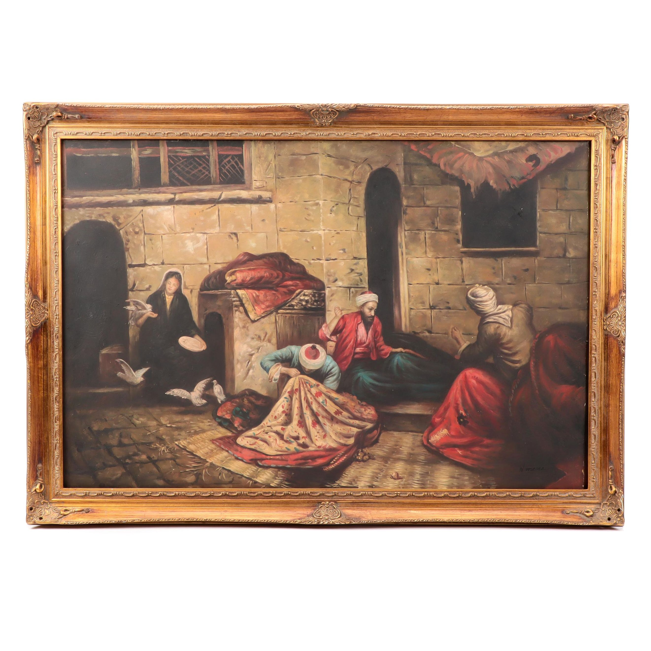 N. Mene Oil Painting of Indo-Persian Style Genre Scene