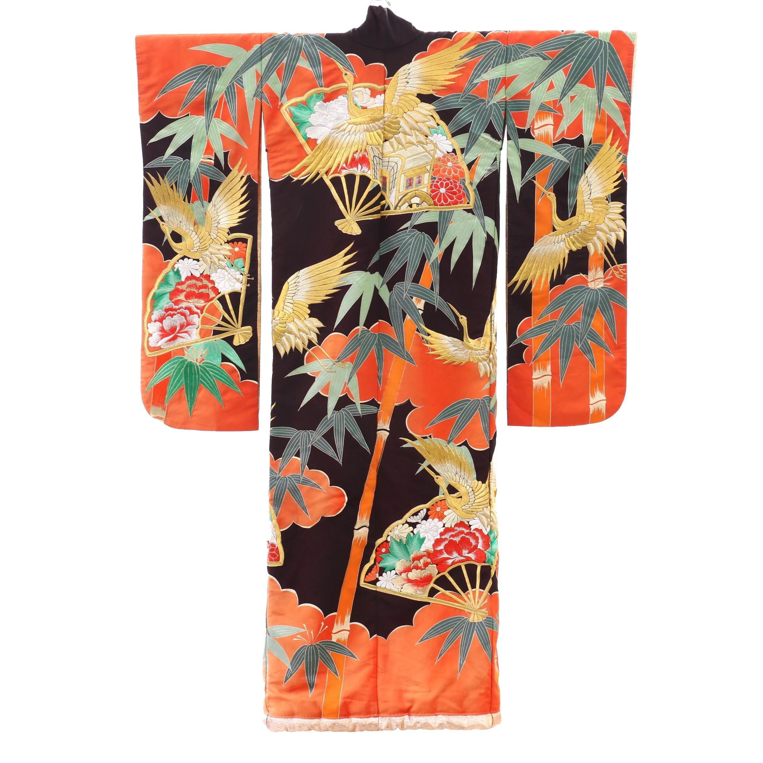 Embroidered Silk Uchikake Kimono, 1960s Vintage