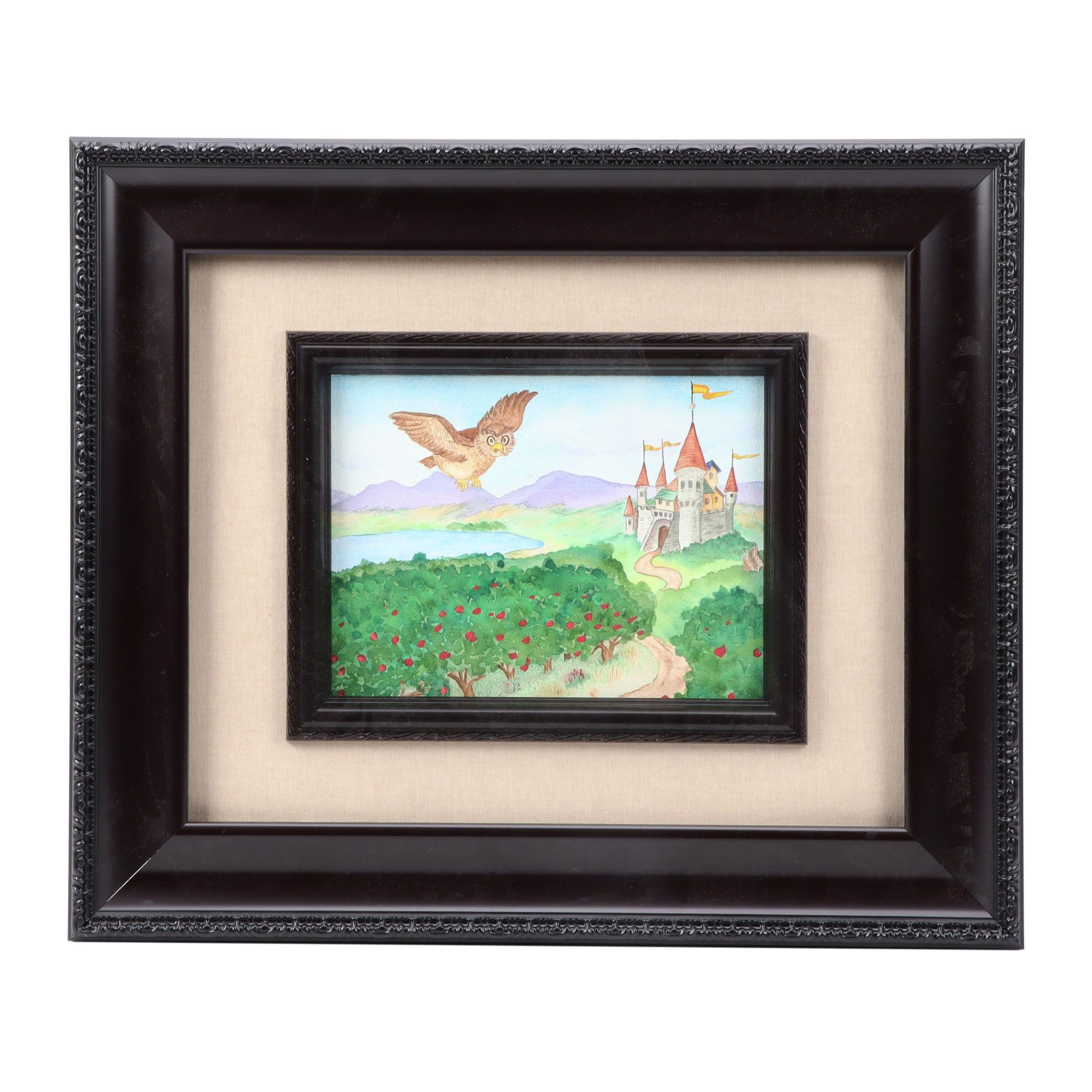 Watercolor Painting of Whimsical Scene with Castle and Owl