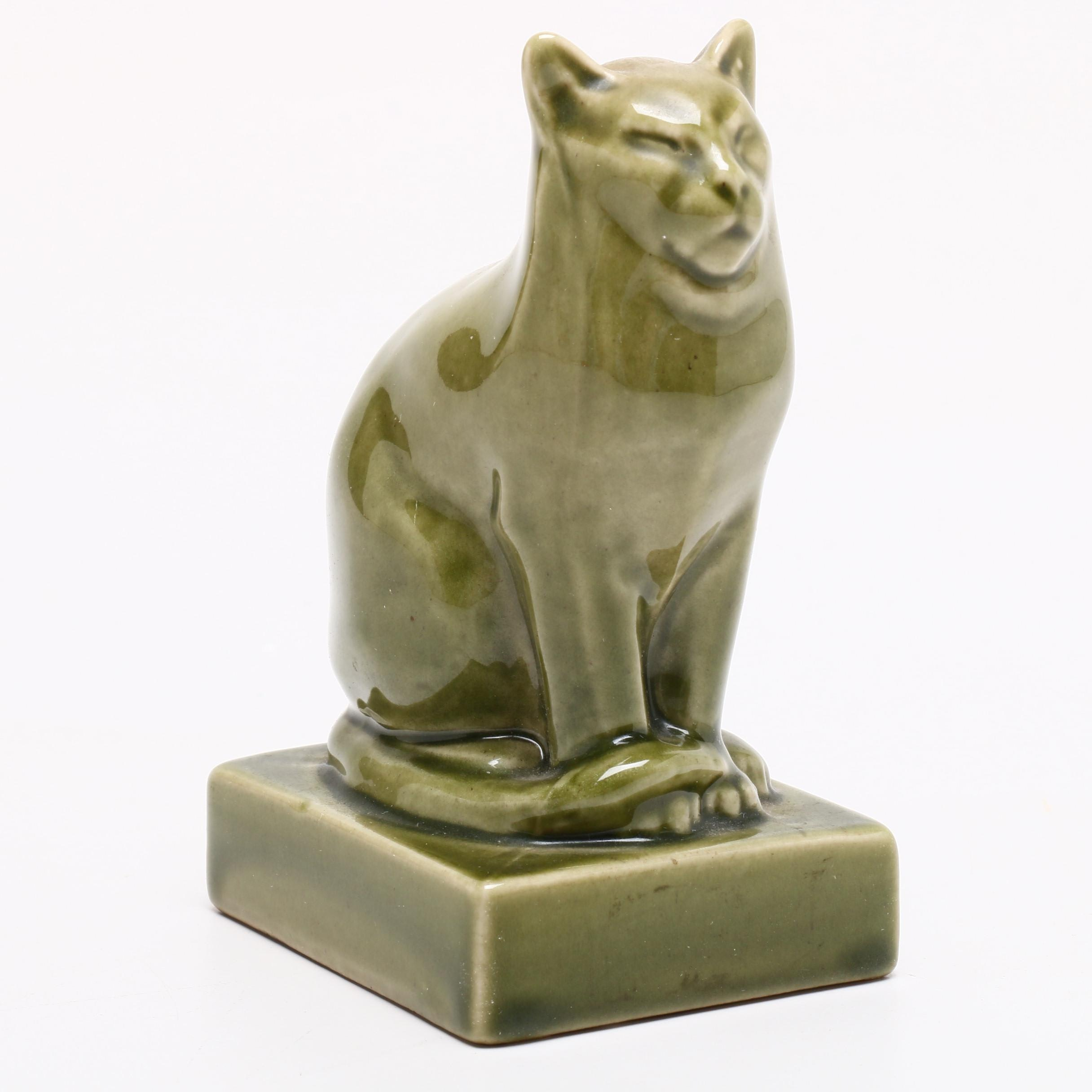 Rookwood Pottery Cat Paperweight, 1965