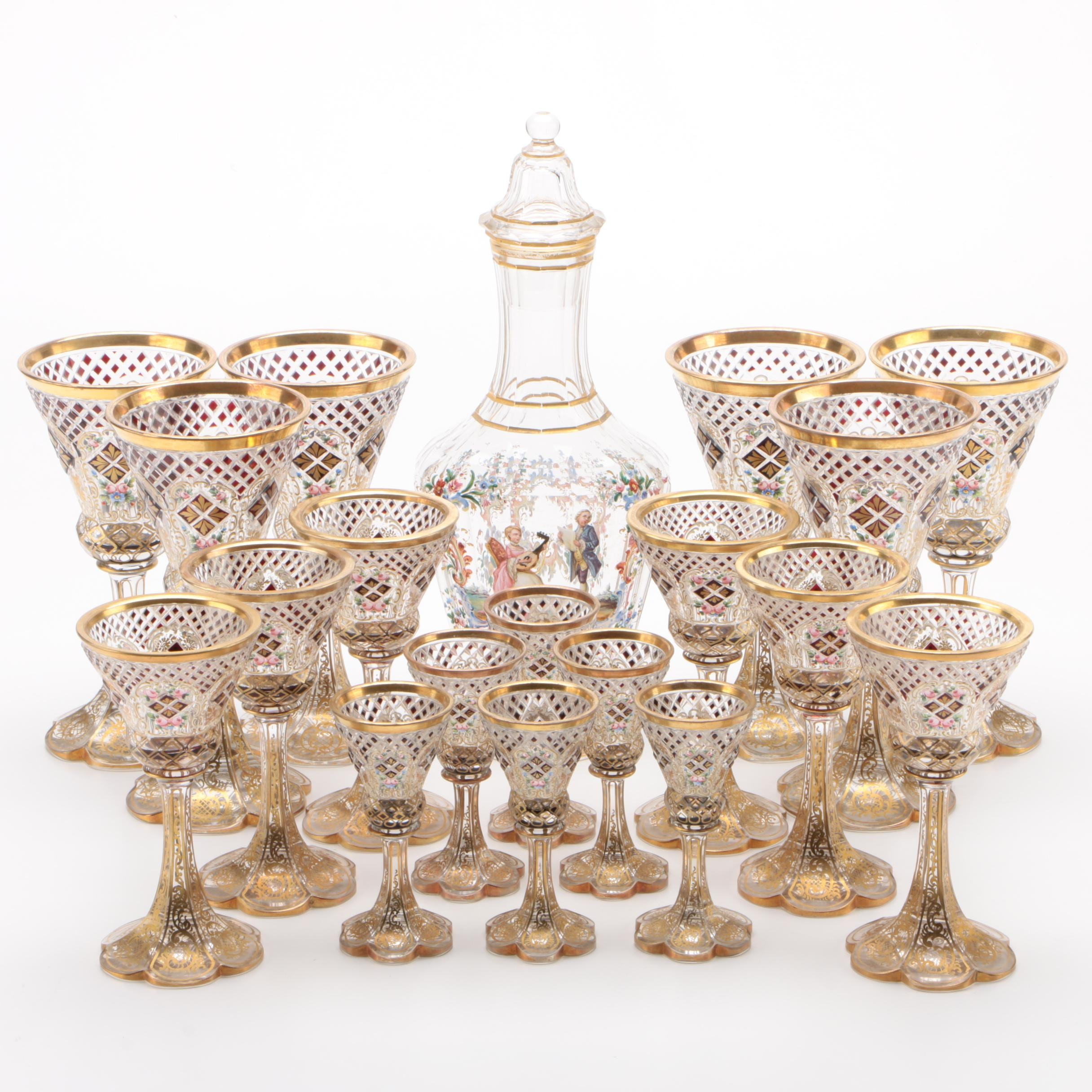 Bohemian Enameled and Gilt Cut Glass Stemware and Decanter, Late 19th Century