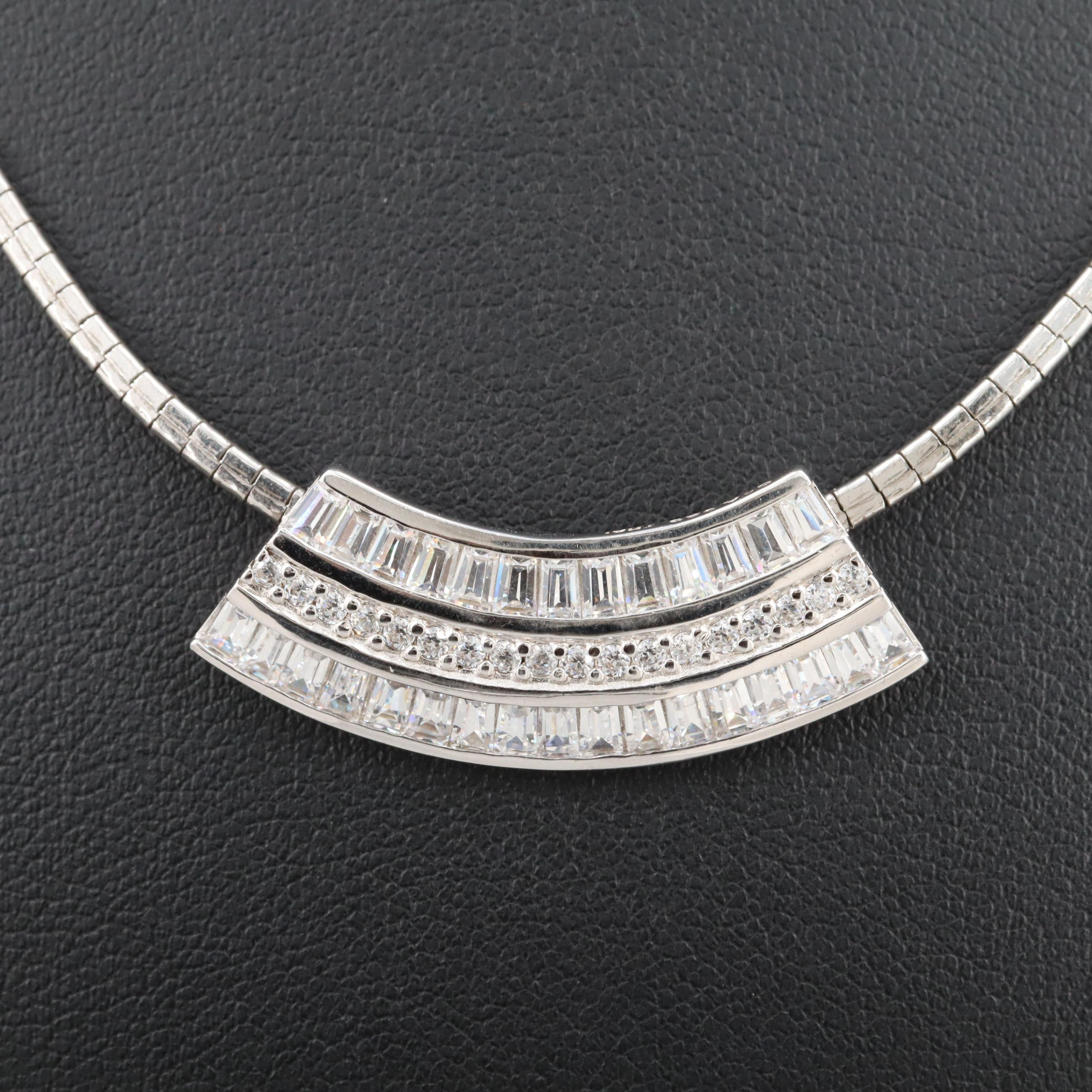 Sterling Silver Cubic Zirconia Slide Pendant Square Omega Necklace