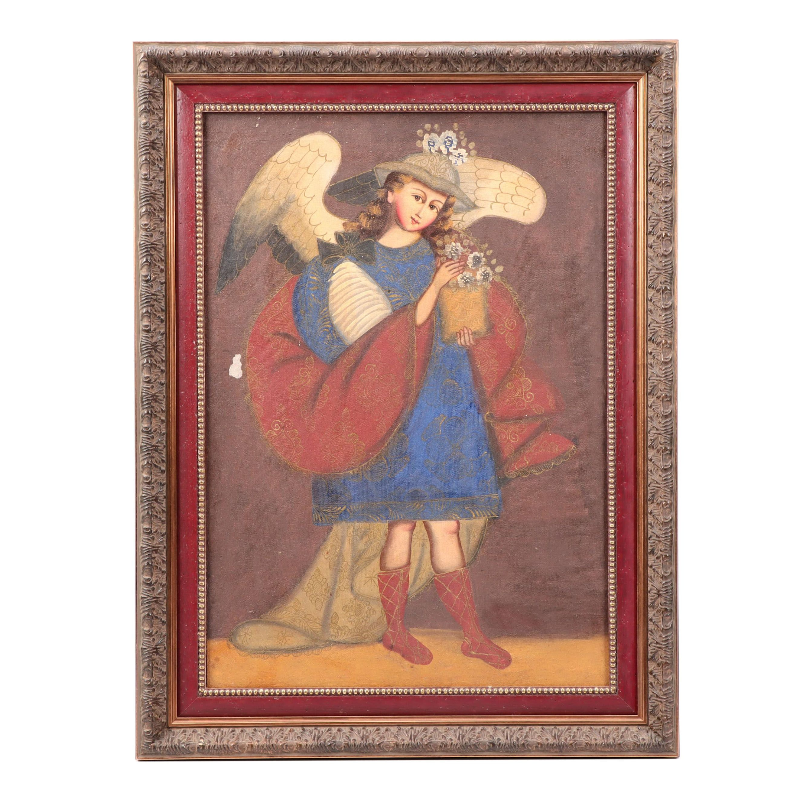 Cuzco School Oil Painting of Archangel with Flowers
