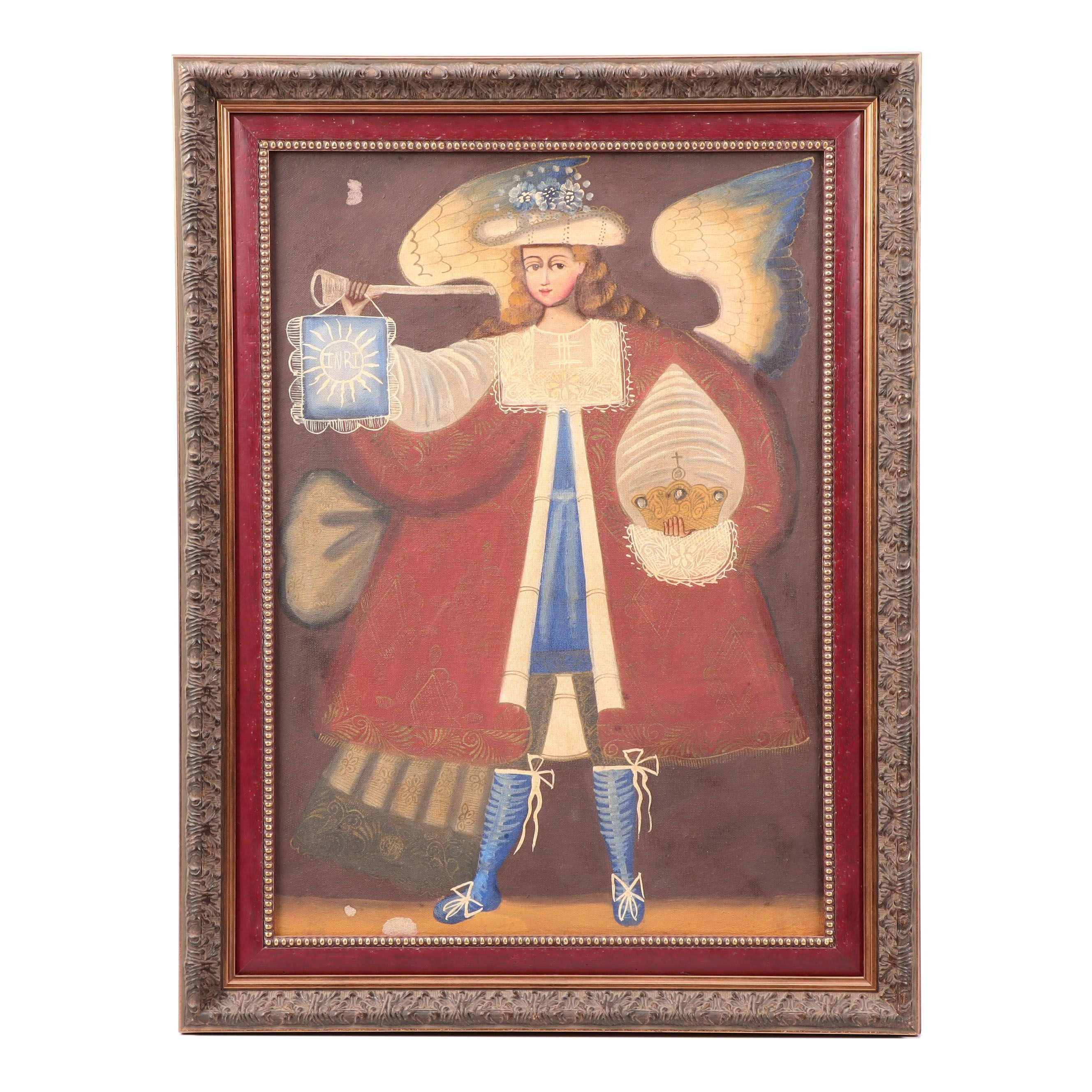 Cuzco School Oil Painting of Archangel with Trumpet