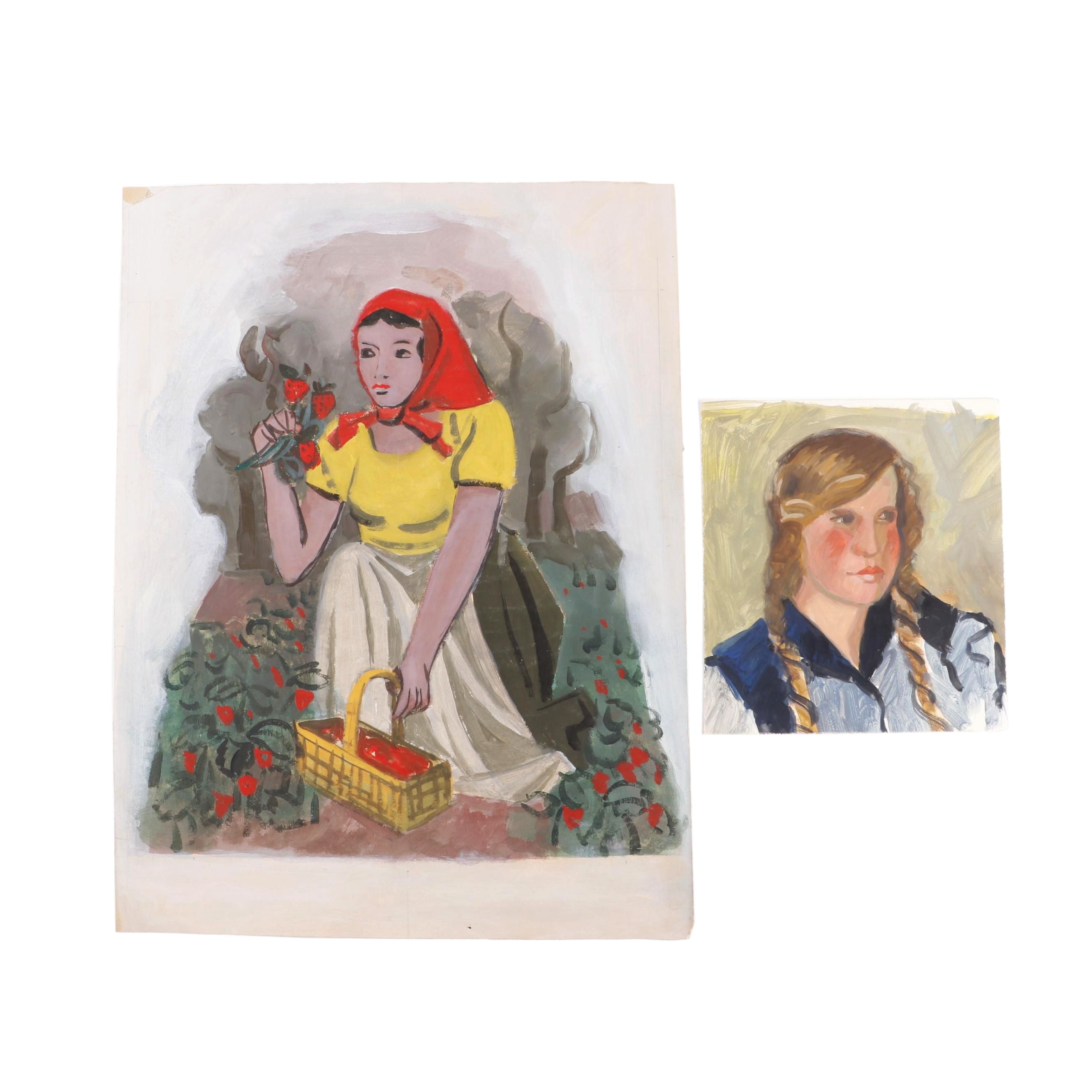 Gouache Paintings of Women