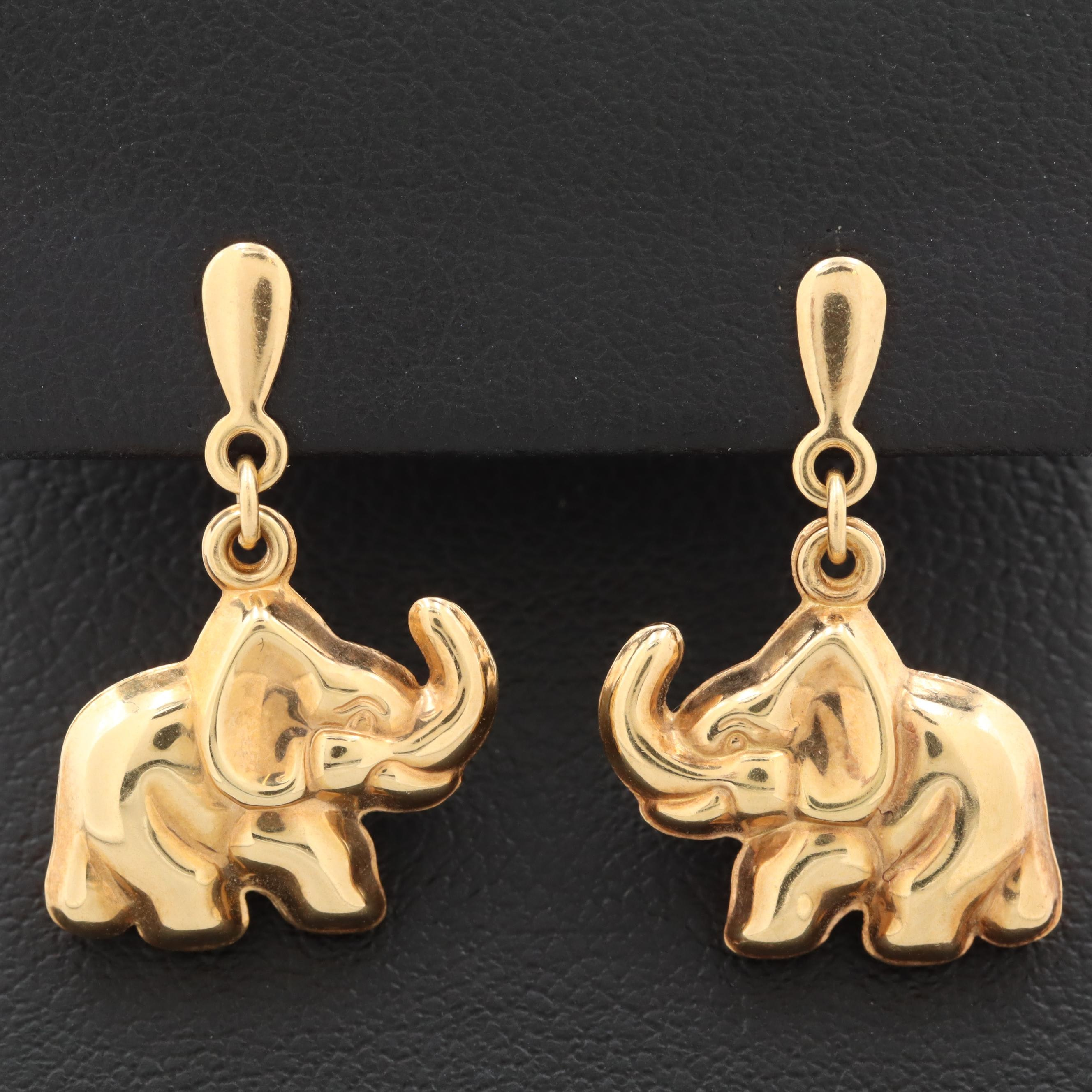 Milor 18K Yellow Gold Elephant Earrings