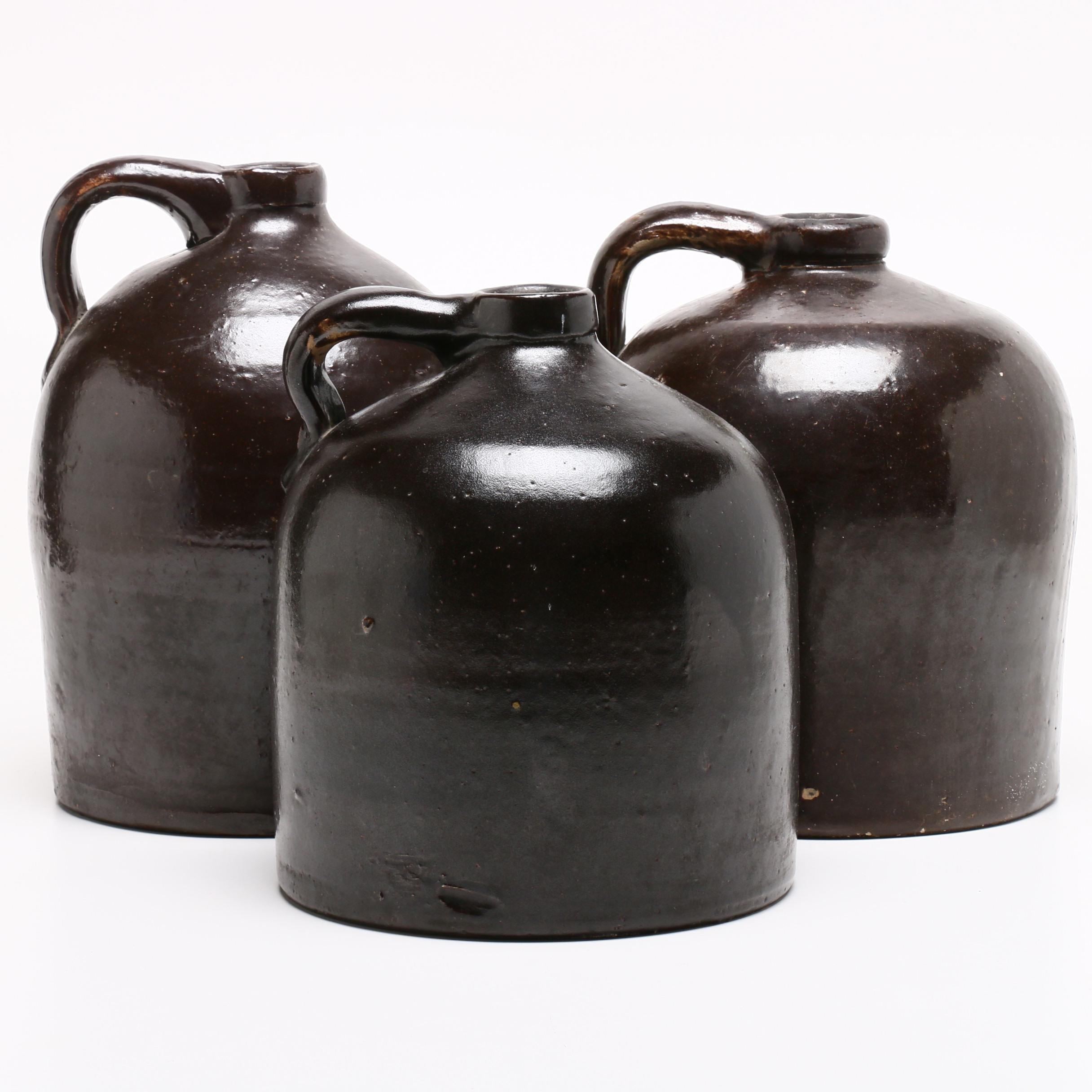 Albany Slip Salt Glazed Stoneware Jugs, Late 19th Century