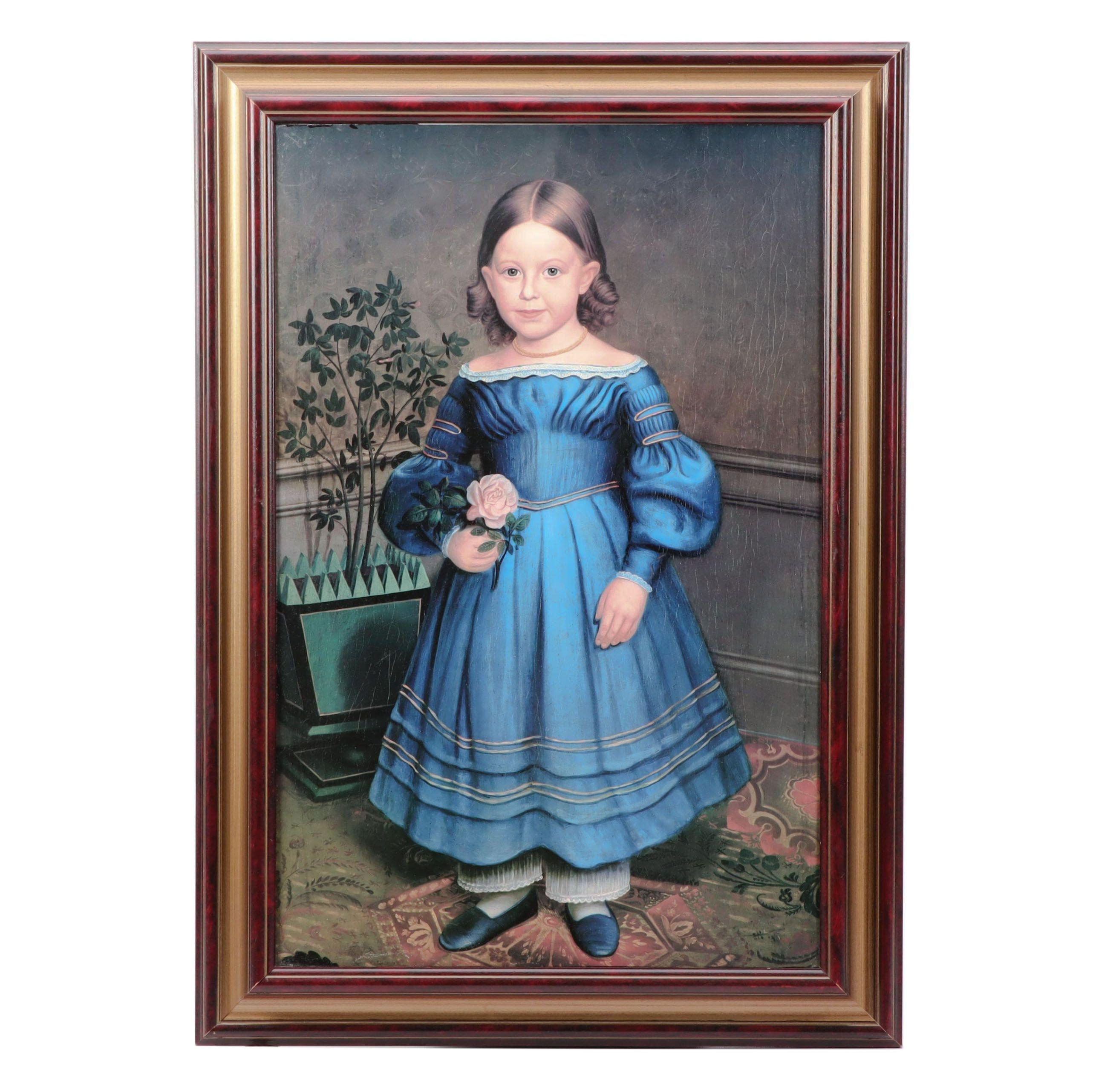 """After Robert Peckham Offset Lithograph """"Portrait of Rosa Heywood"""""""