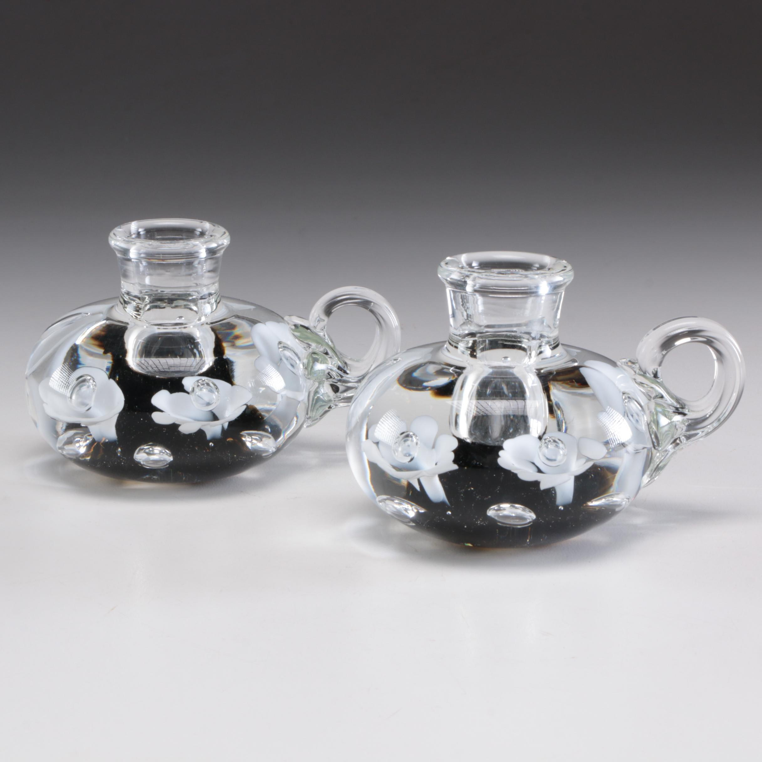 Joe Rice St. Clair Art Glass Candle Holders