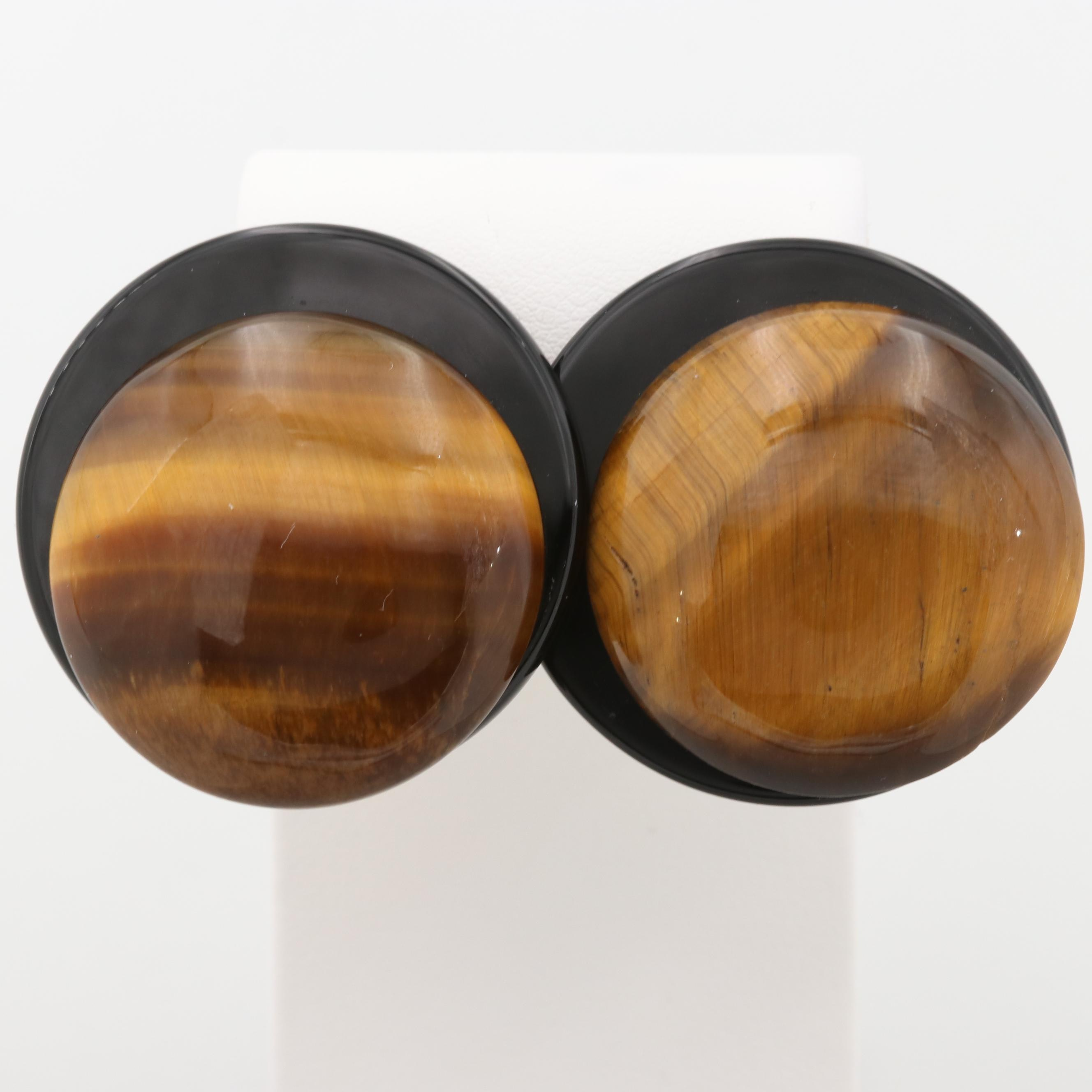 Gold Tone Tiger's Eye and Black Onyx Clip-On Earrings