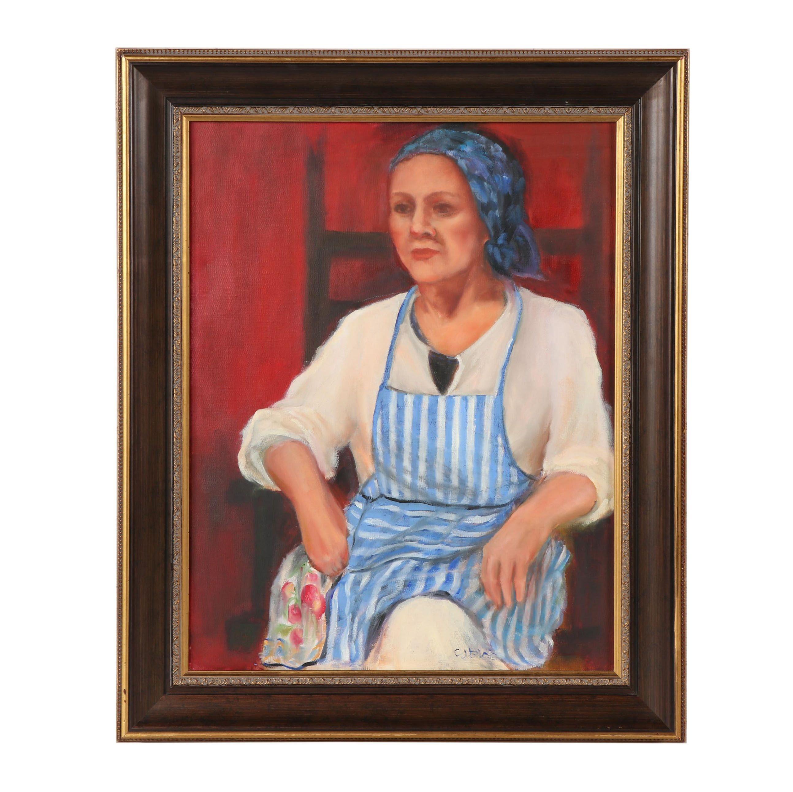 "Carol Blais Oil Painting ""Blue Apron"""