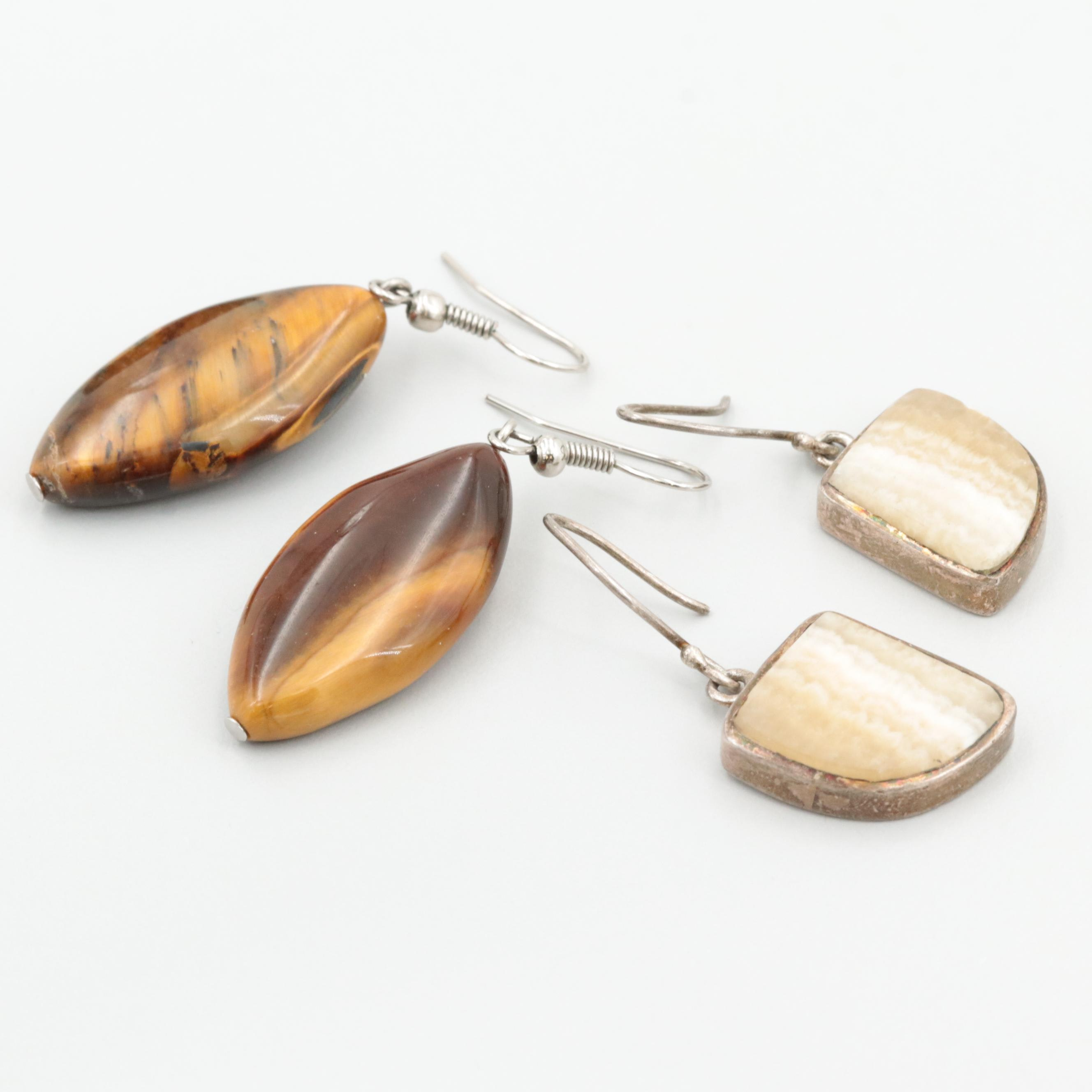 Sterling Silver and Silver Tone Tiger's Eye and Agate Earrings