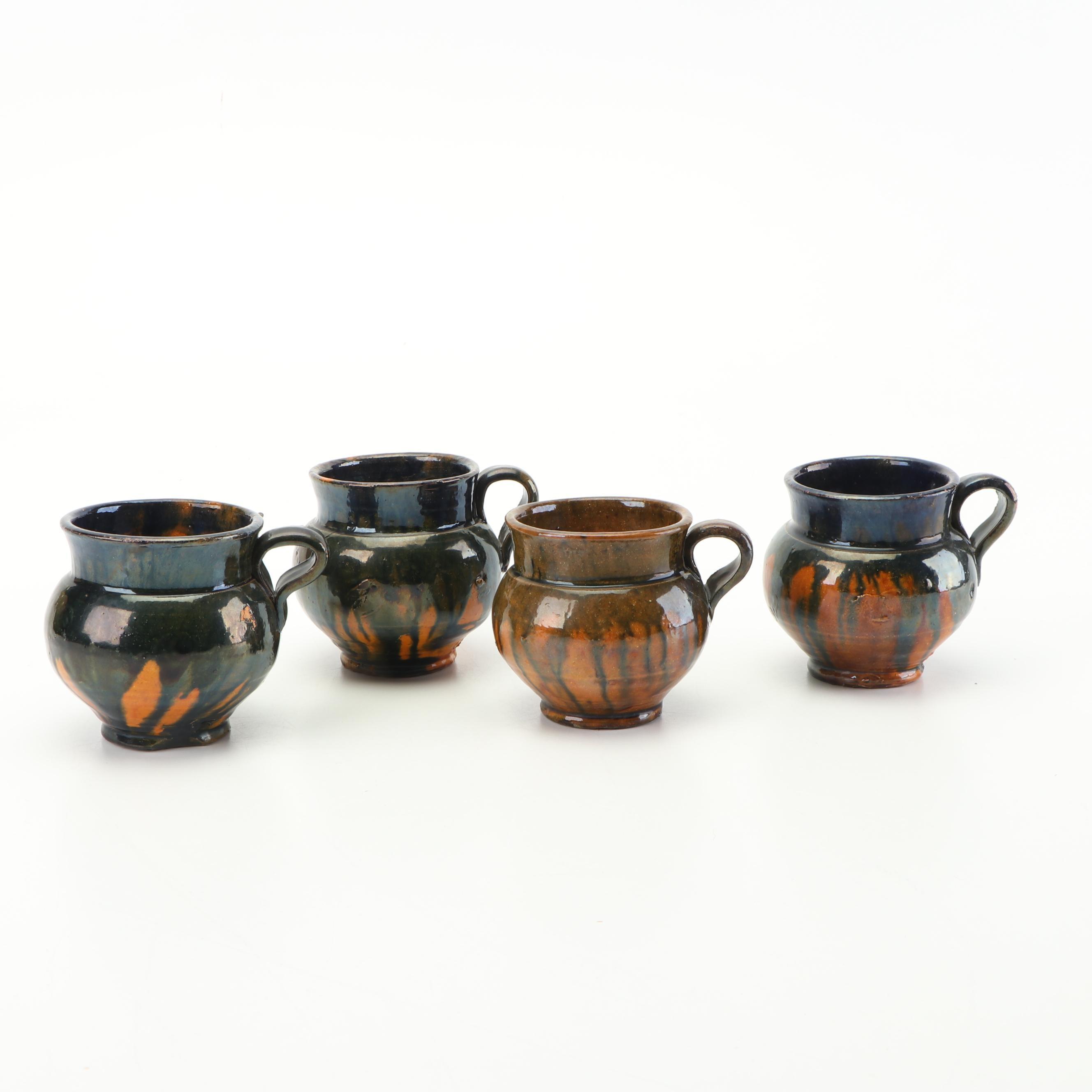 Mexican Thrown Stoneware Jarrito Chocolate Mugs, Patamban, Michoacán