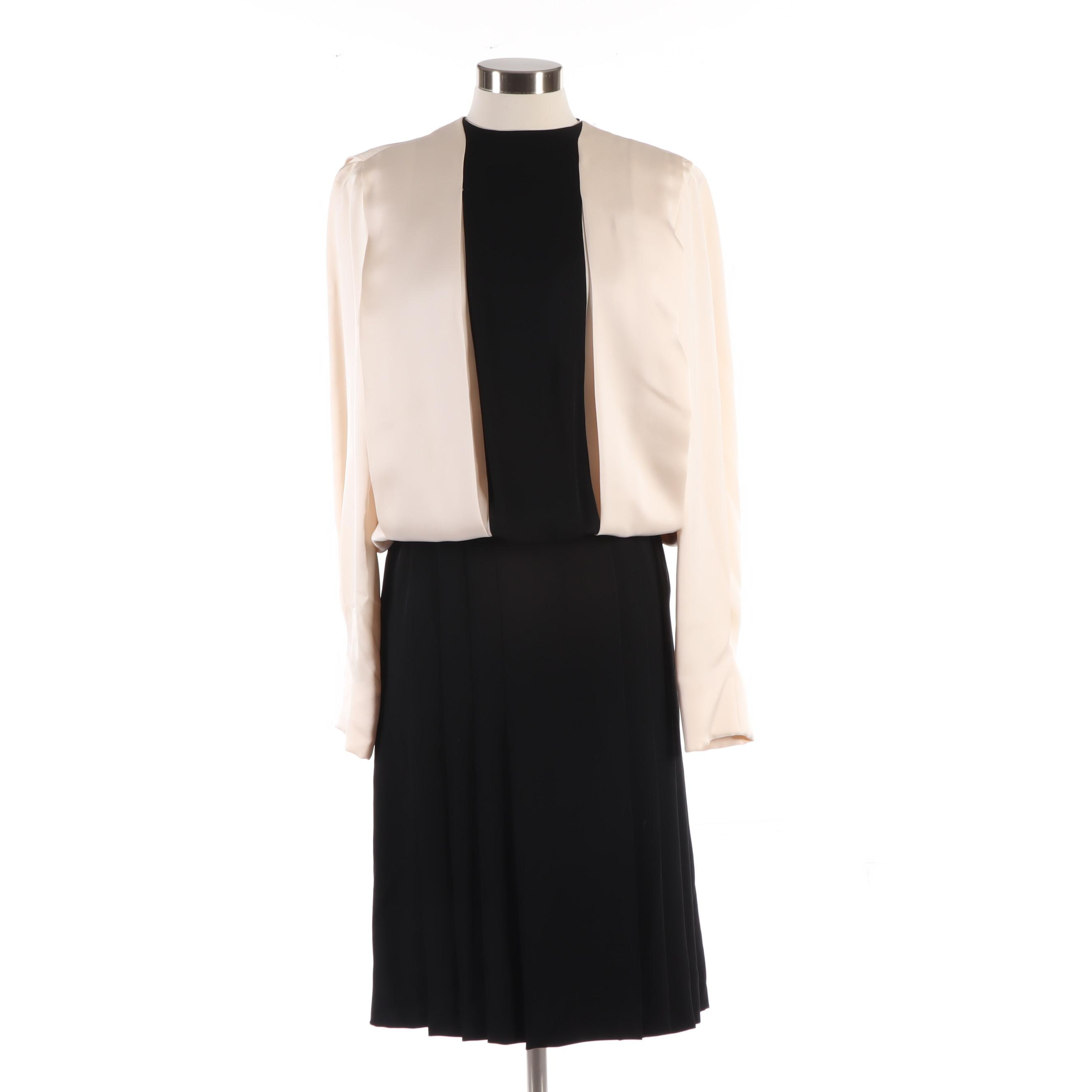 James Galanos Ivory and Black Cocktail Dress with Black Buttons, 1980s Vintage