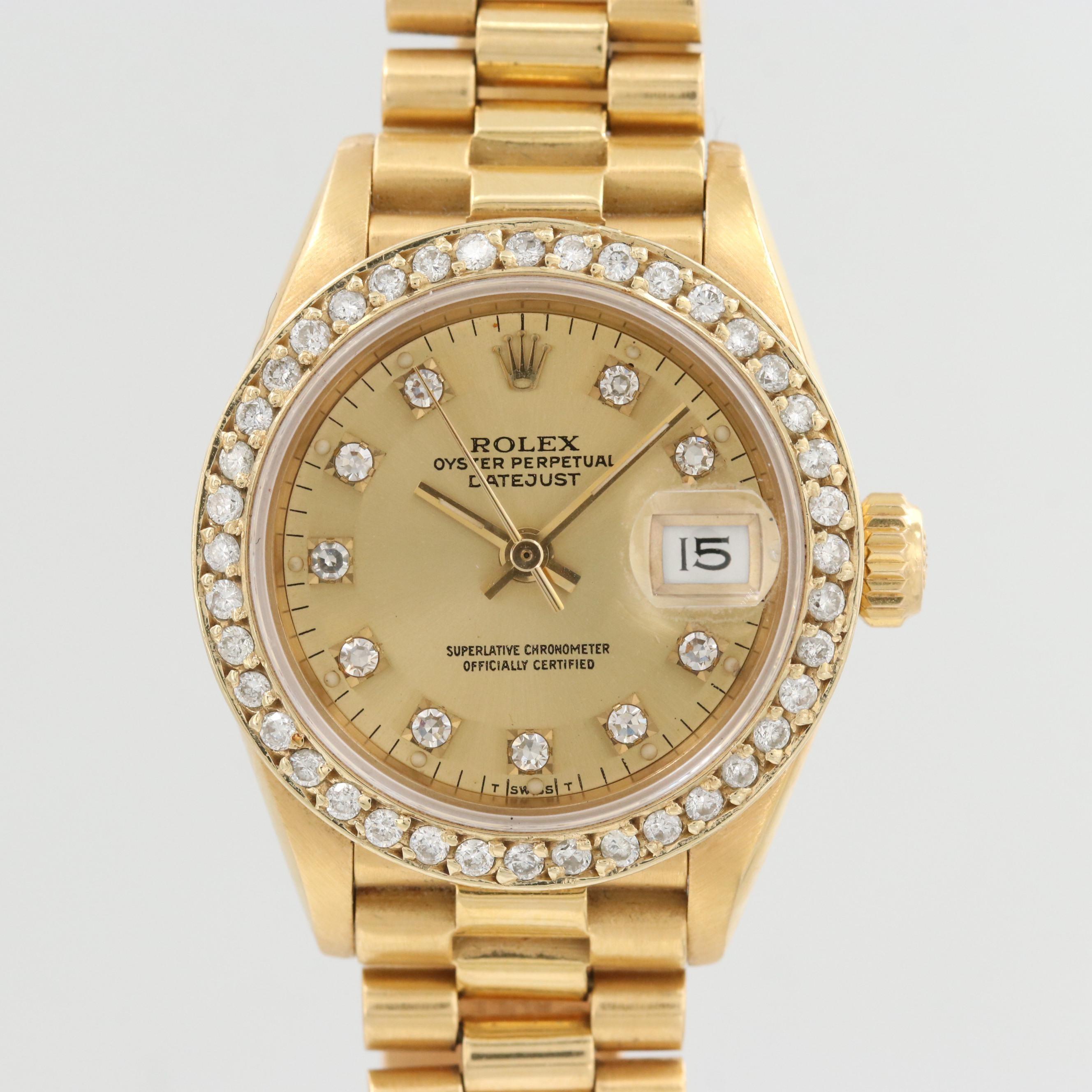 Rolex President 18K Yellow Gold Diamond Wristwatch, 1989