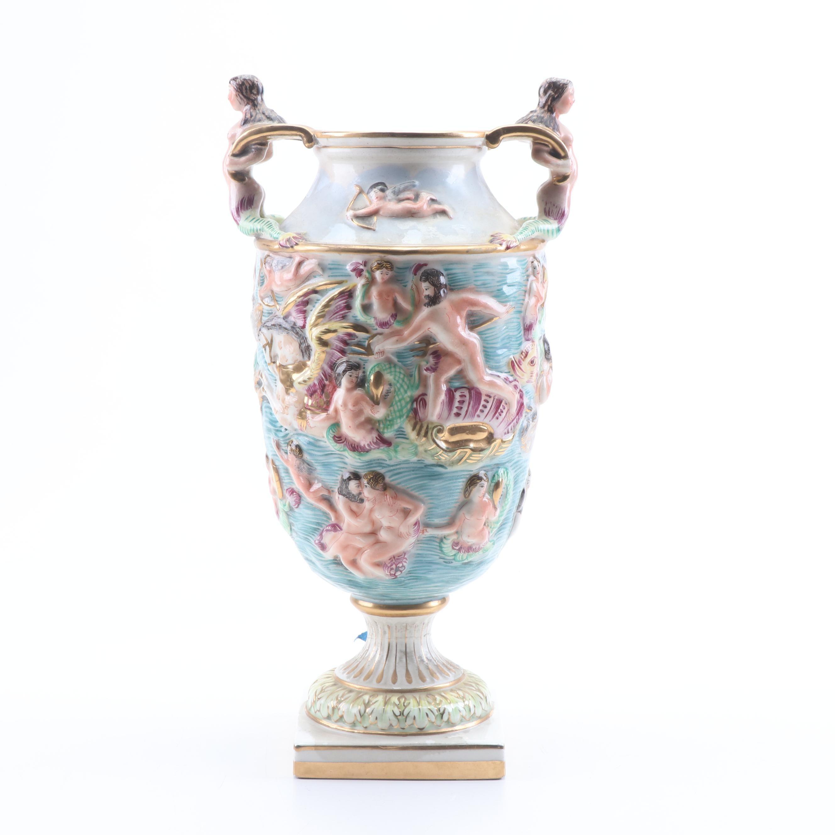 Italian Hand-Painted Capodimonte Poseidon with Mermaids Earthenware Vase