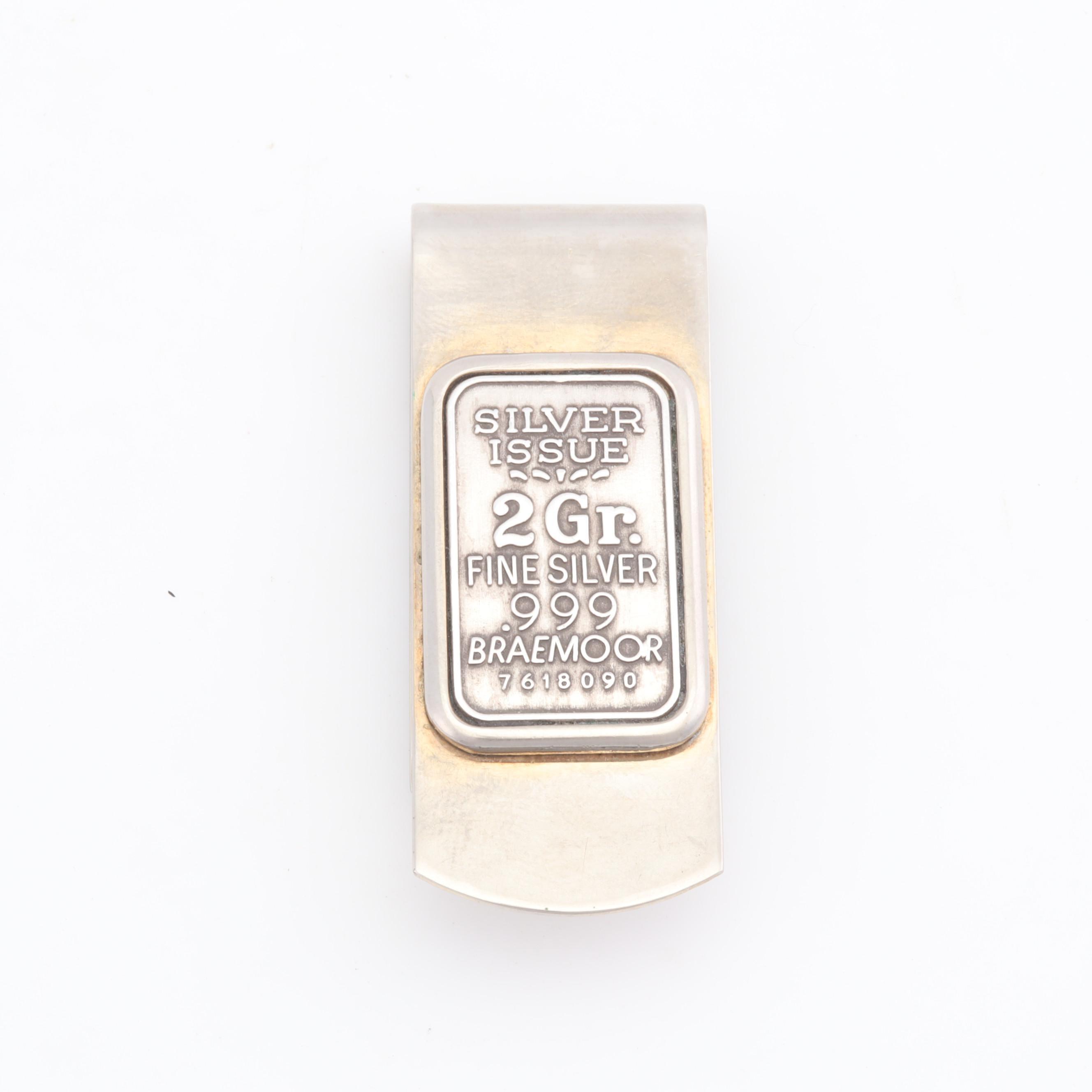 Money Clip with 2 Gram .999 Fine Silver Braemoor Bar Inlay