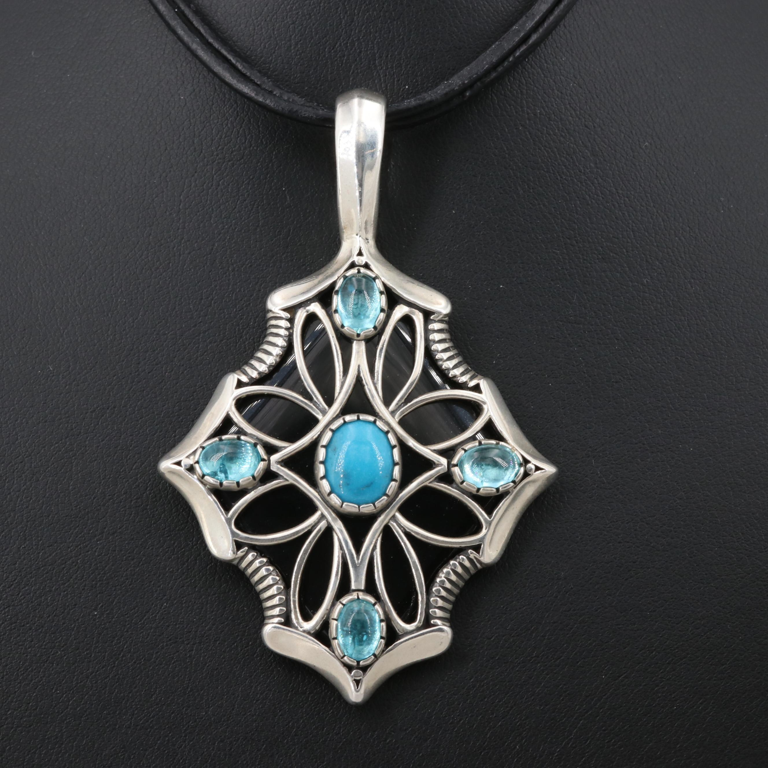 Relios Carolyn Pollack Sterling Silver Turquoise and Apatite Pendant Necklace