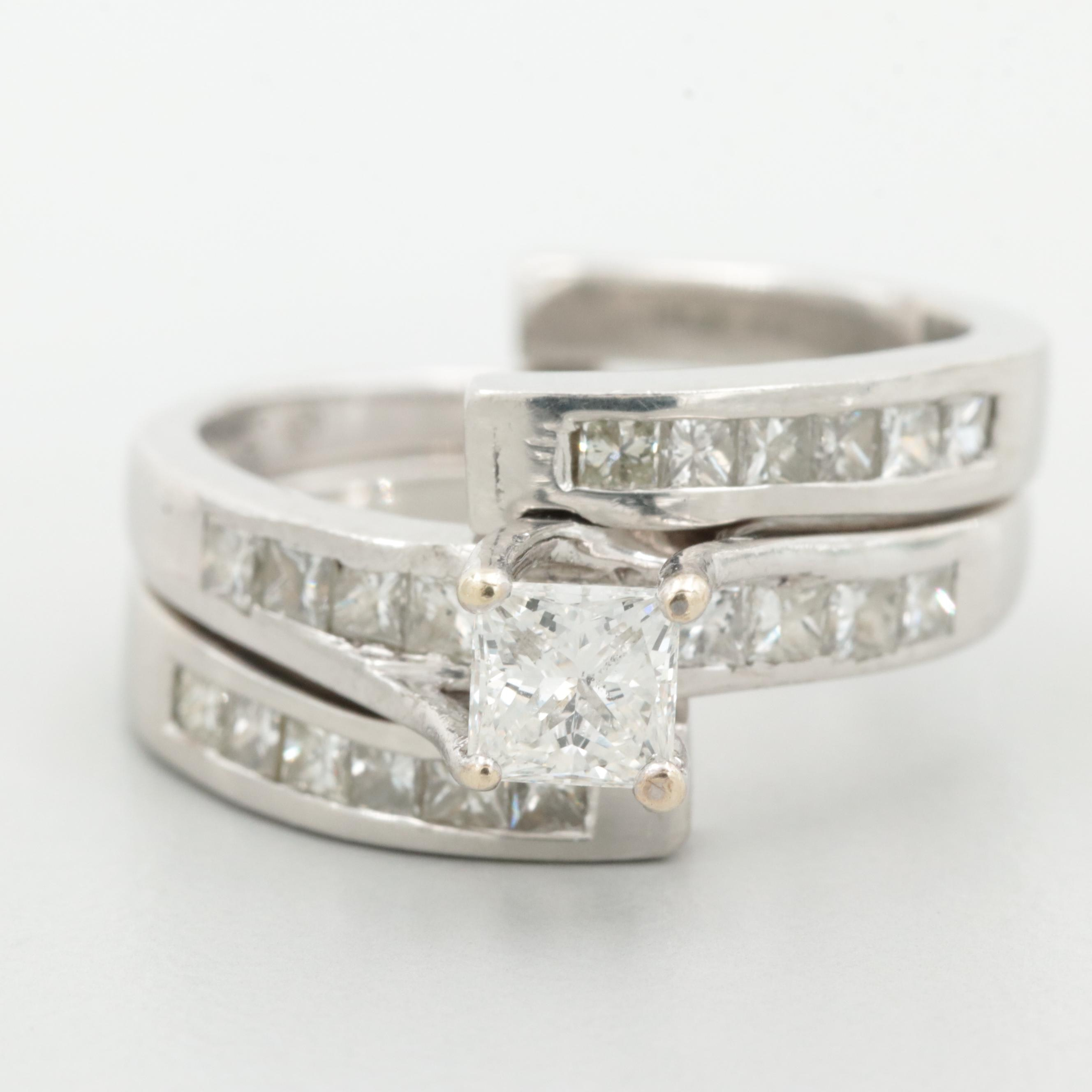 14K White Gold 0.98 CTW Diamond Ring with Bypass Enhancer Ring