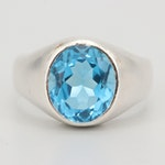 Sterling Silver and 6.00 CT Blue Topaz Ring