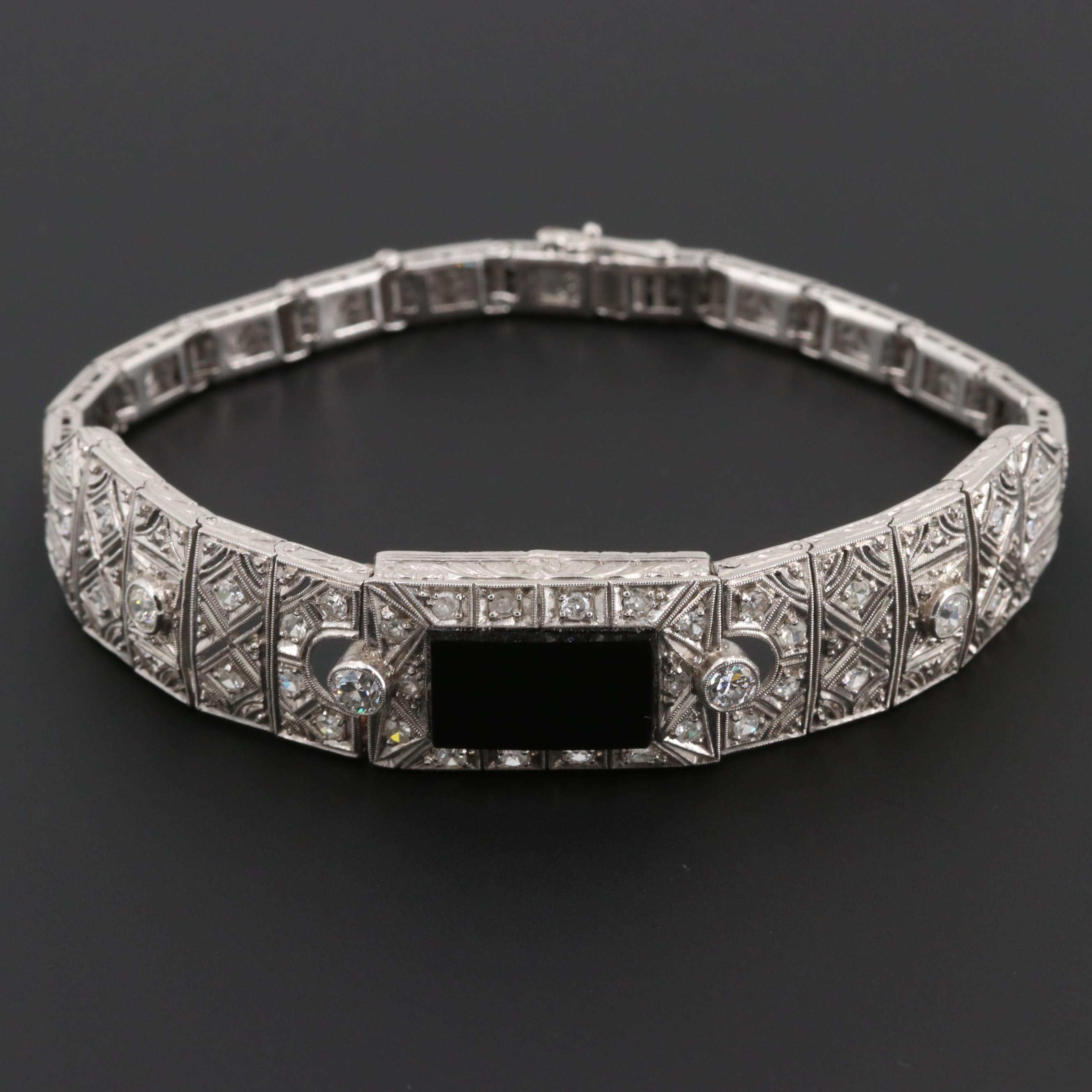Art Deco Platinum Black Onyx and 1.33 CTW Diamond Bracelet with Milgrain Detail