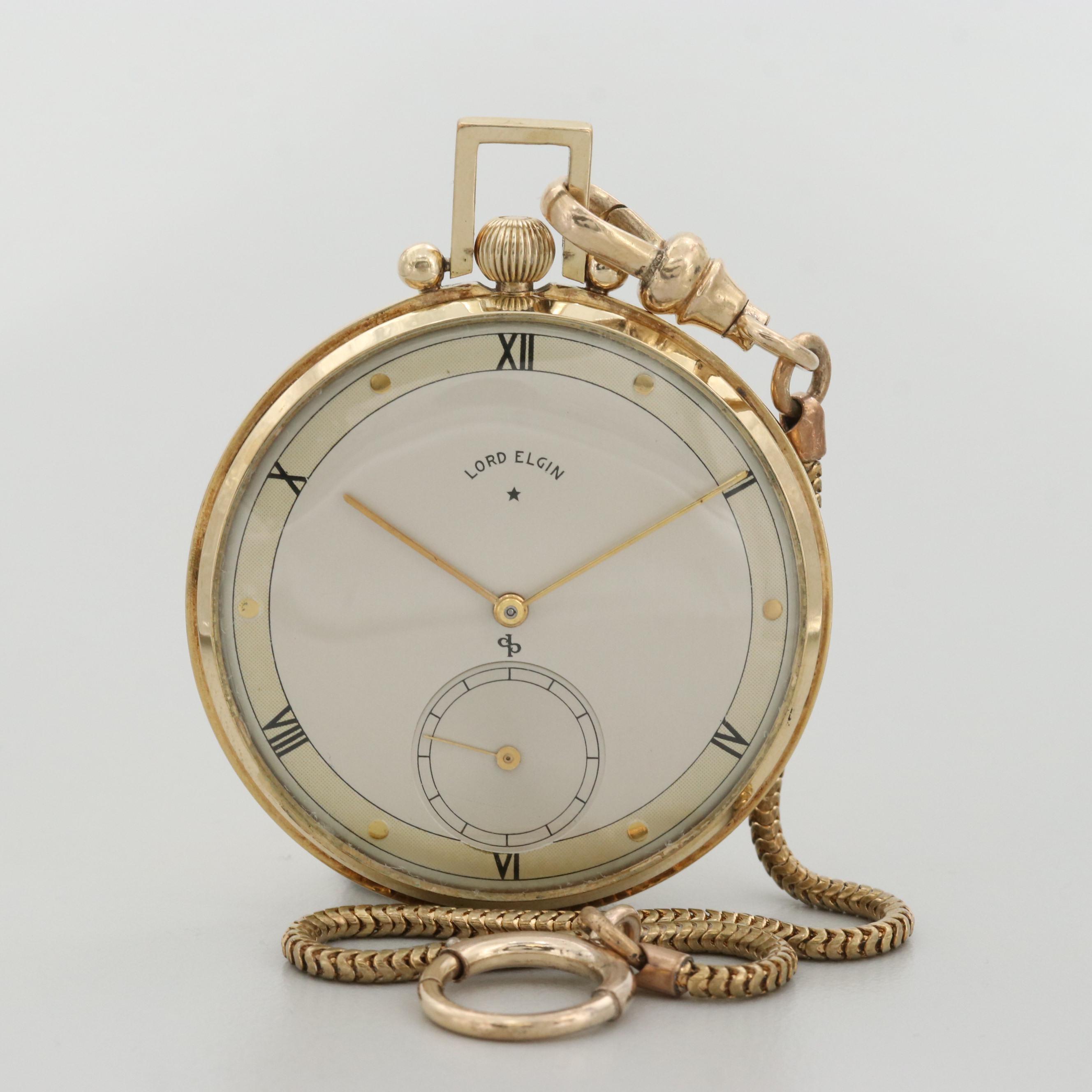 Vintage Lord Elgin 14K Gold Filled Pocket Watch, 1946