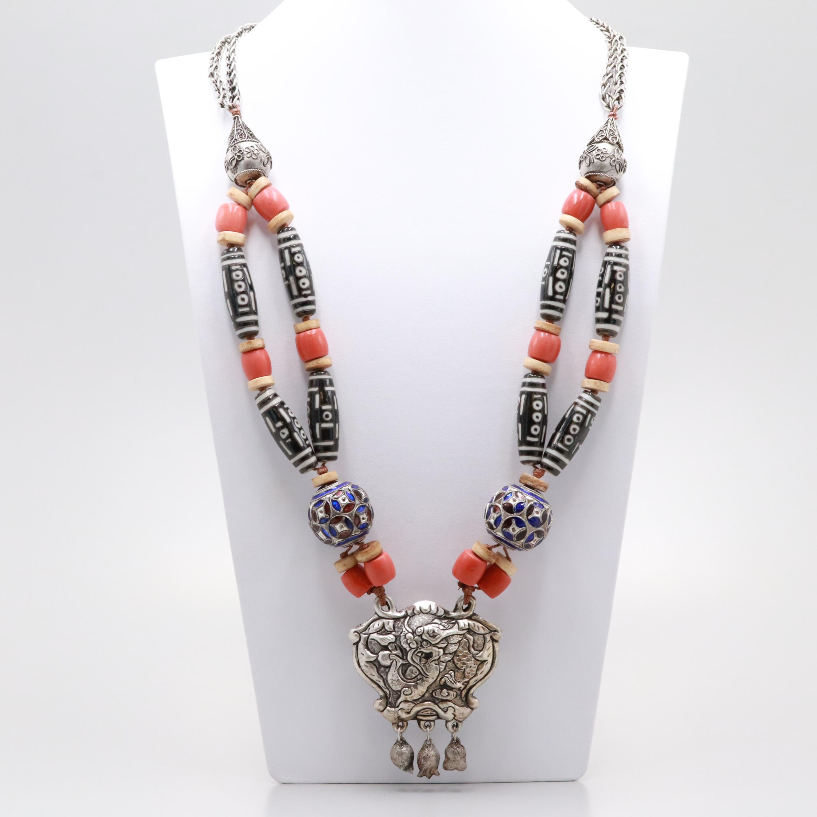 Beaded Bone and Glass Necklace with Dragon Motif Pendant and Dangles