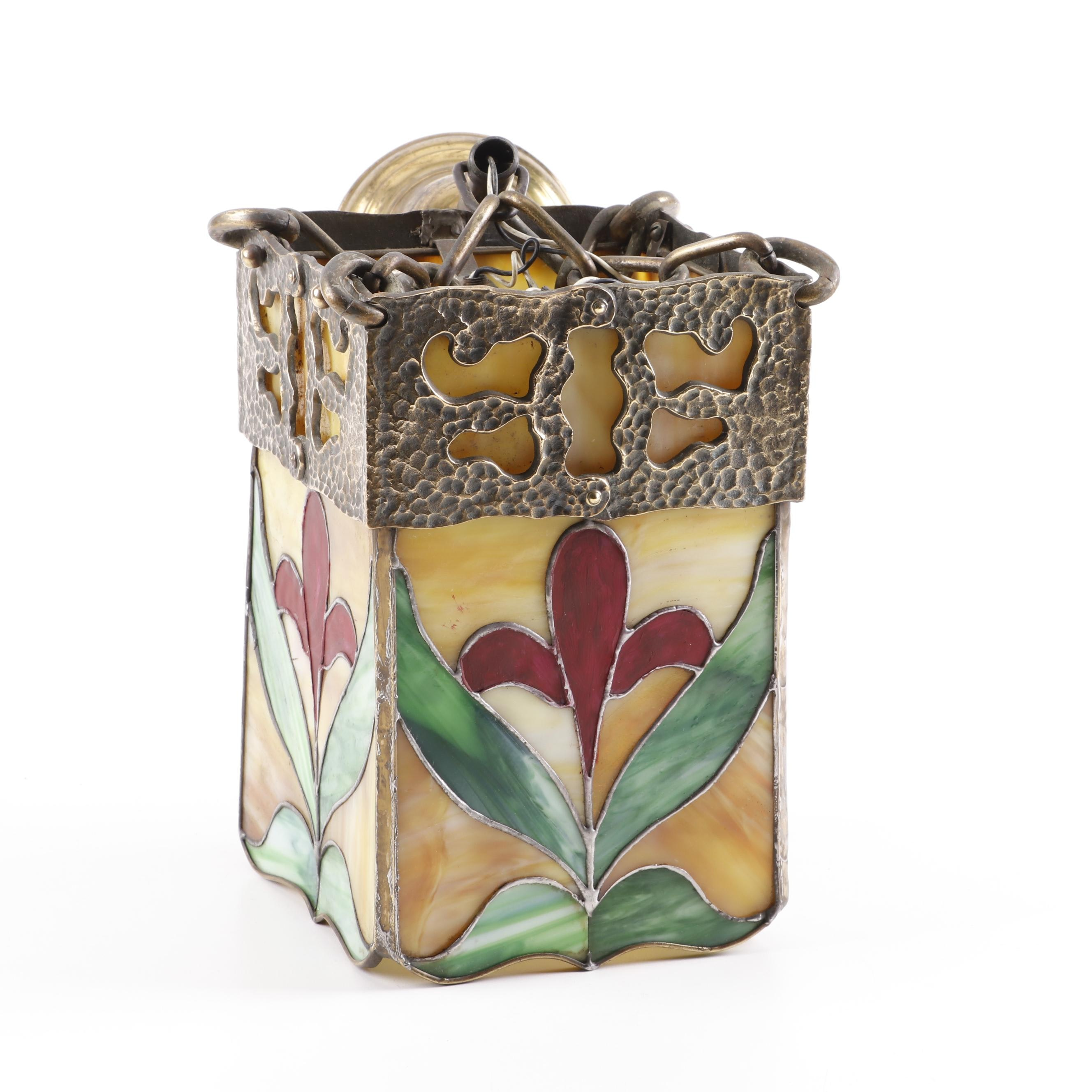 Floral Stained Glass Pendant Light, Mid to Late 20th Century