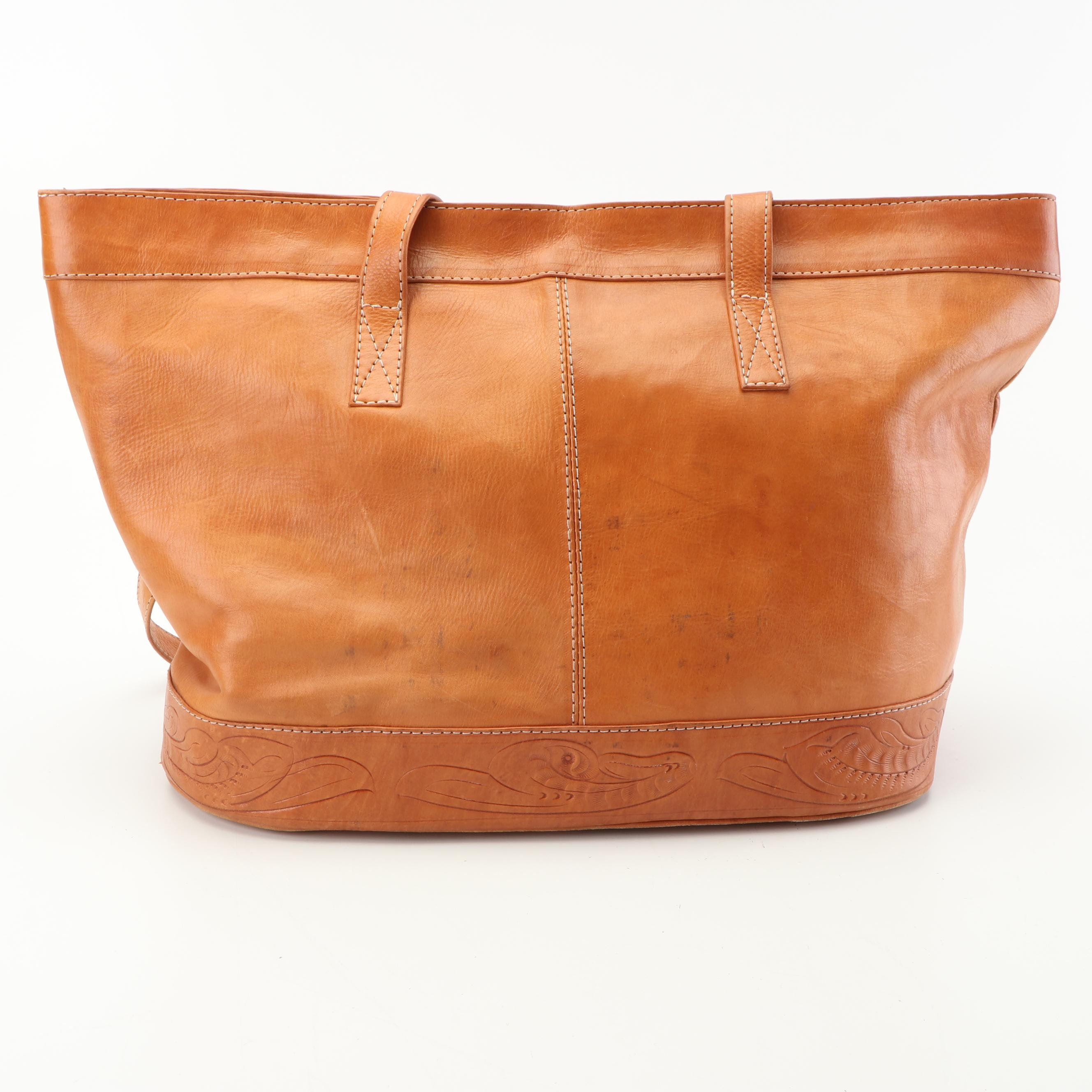 Leather Tote Bag with Tooled Leather Trim