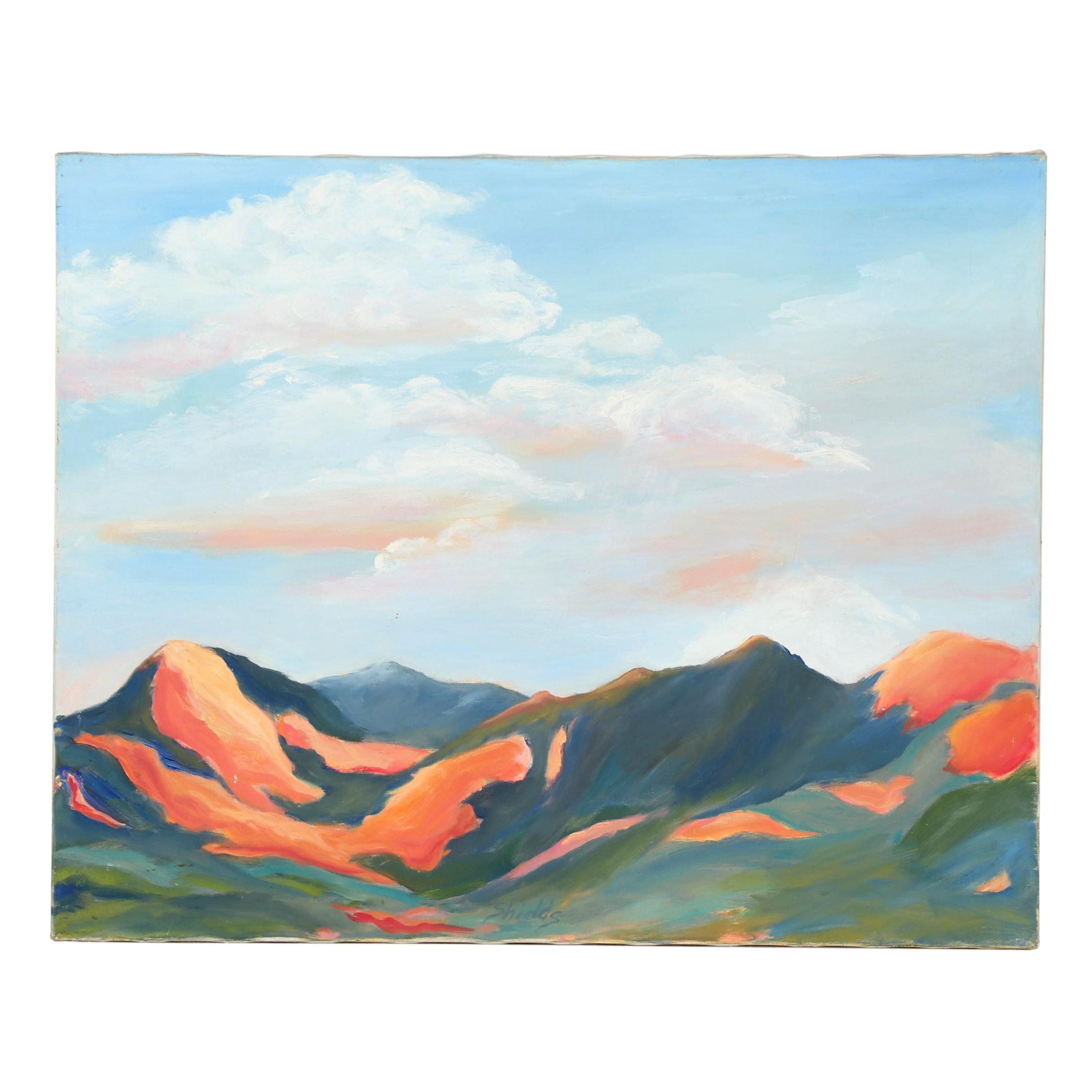 "Late 20th Century Oil Painting ""Sacred Mountains- Taos"""
